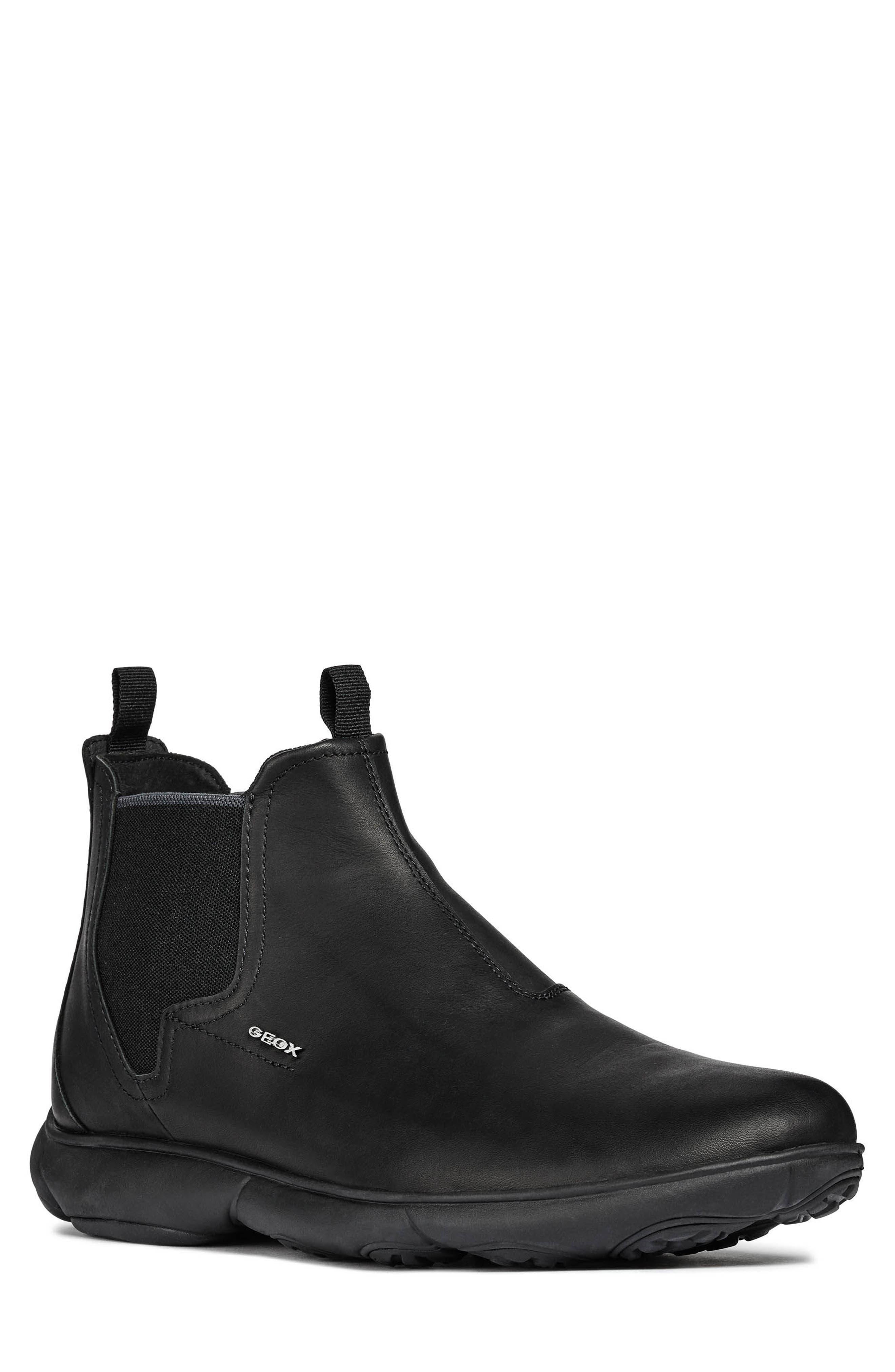 Nebula Mid Chelsea Sneaker,                             Main thumbnail 1, color,                             BLACK LEATHER