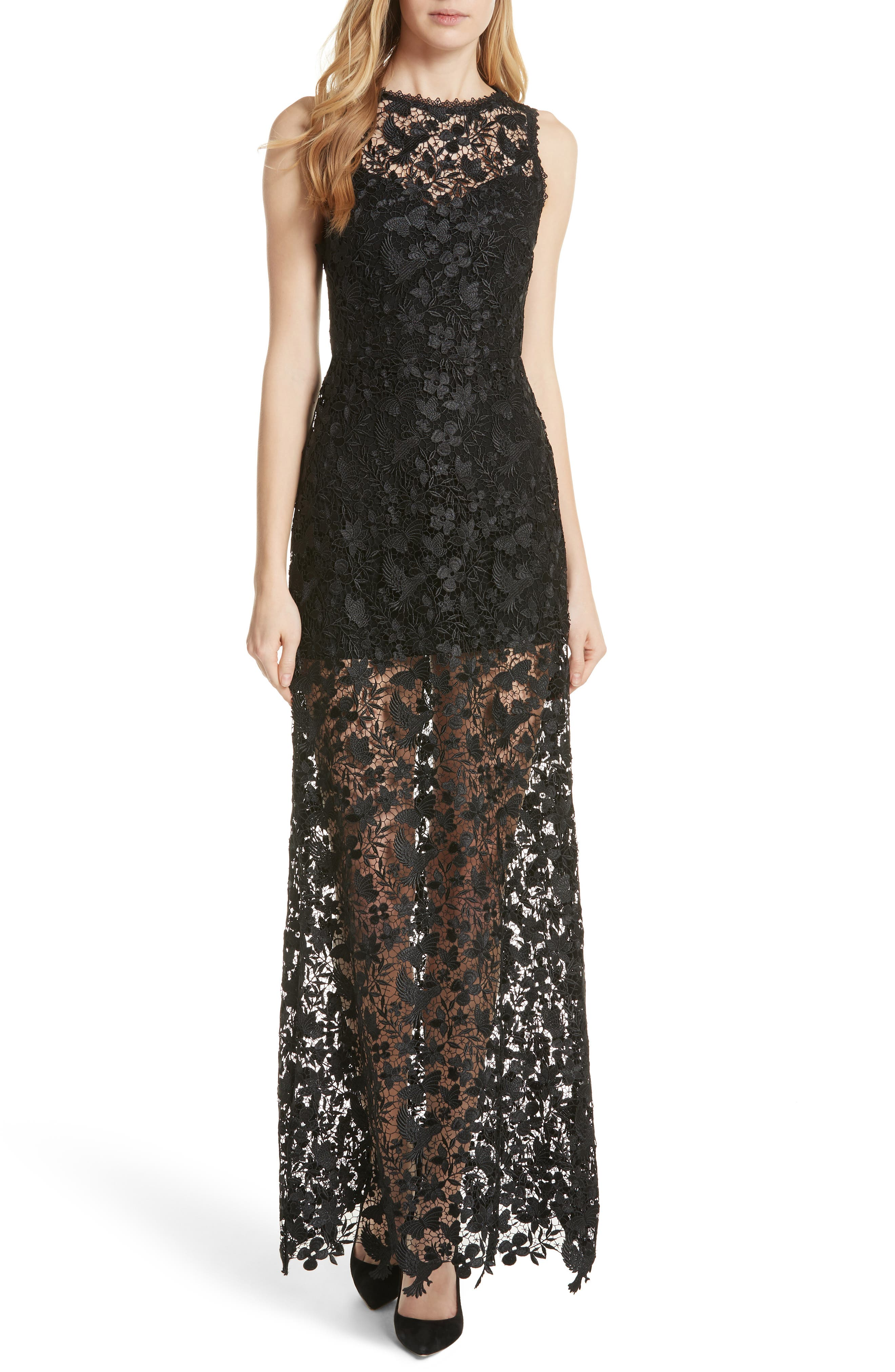 Danielle Silk Lace Overlay Sheer Maxi Dress,                         Main,                         color, 001
