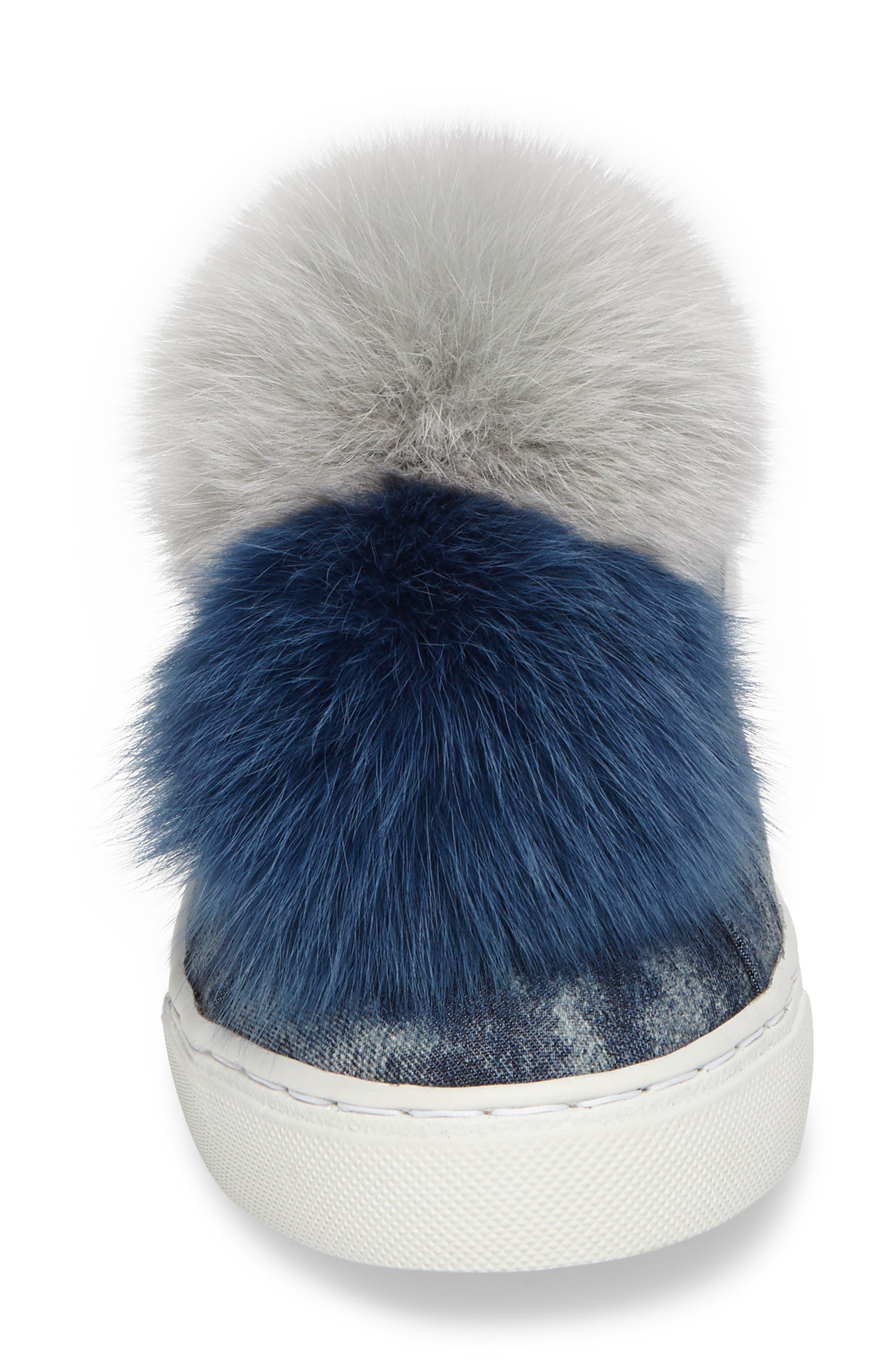 Joey Genuine Fox Fur Trim Sneaker,                             Alternate thumbnail 4, color,                             460
