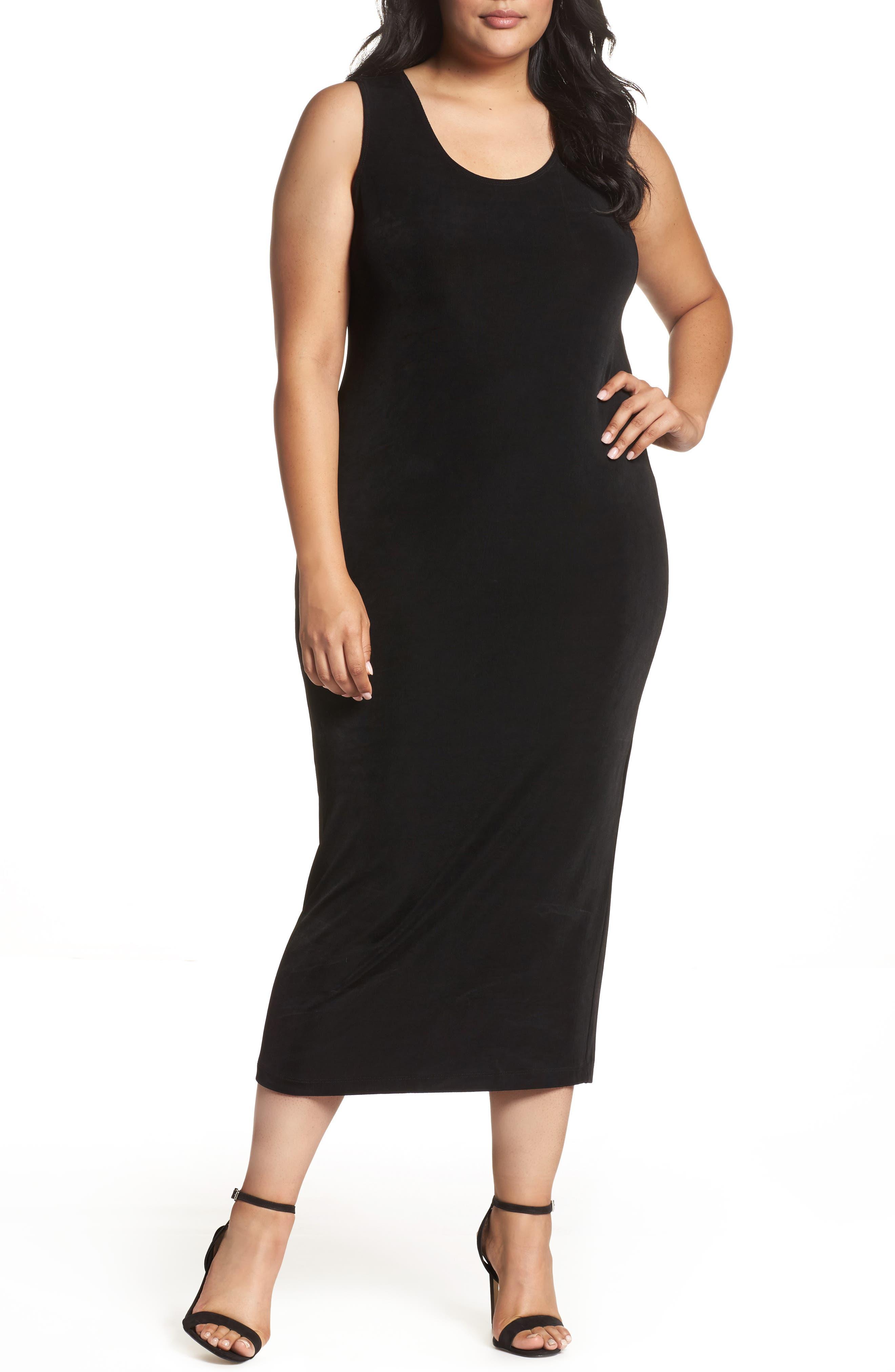 Sleeveless Maxi Tank Dress,                             Alternate thumbnail 2, color,                             BLACK