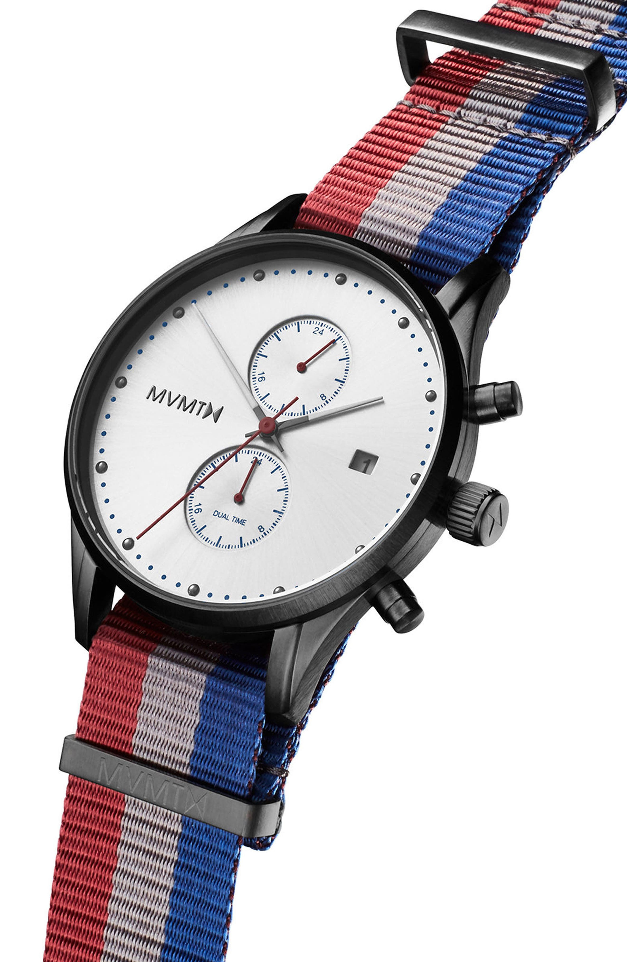 Voyager Chronograph Canvas Strap Watch, 42mm,                             Alternate thumbnail 3, color,                             020