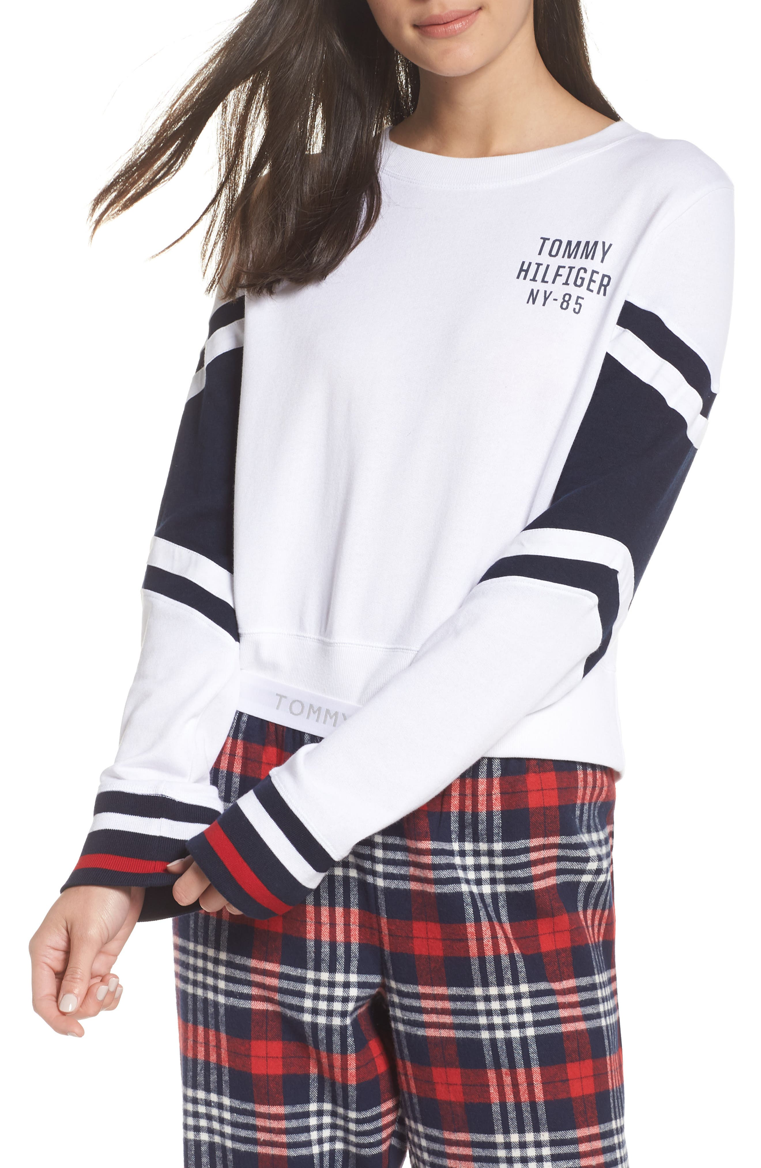 Cropped Lounge Pullover,                             Main thumbnail 1, color,                             BRIGHT WHITE