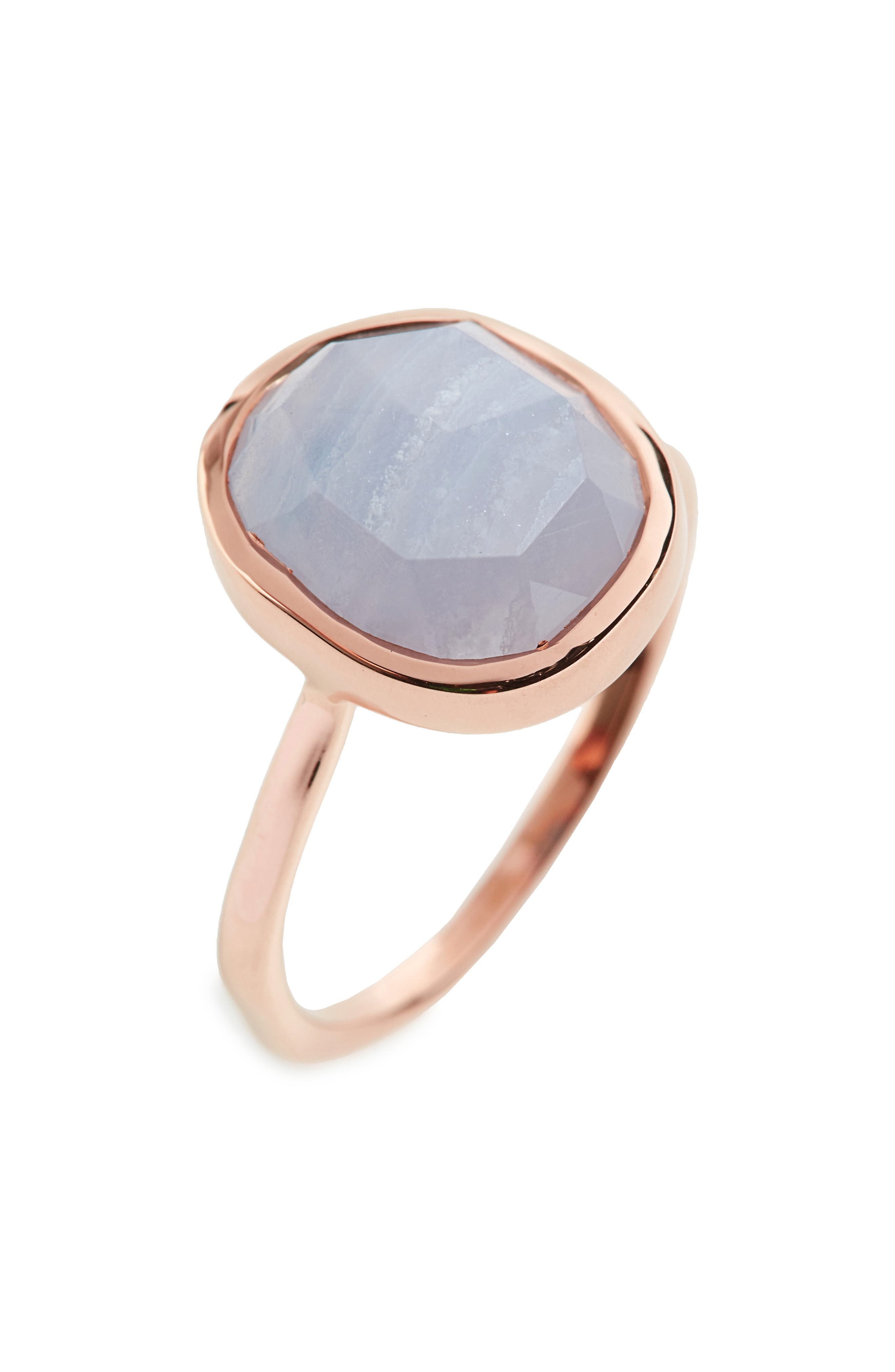 'Siren' Medium Semiprecious Stone Stacking Ring,                         Main,                         color, ROSE GOLD/ BLUE LACE AGATE