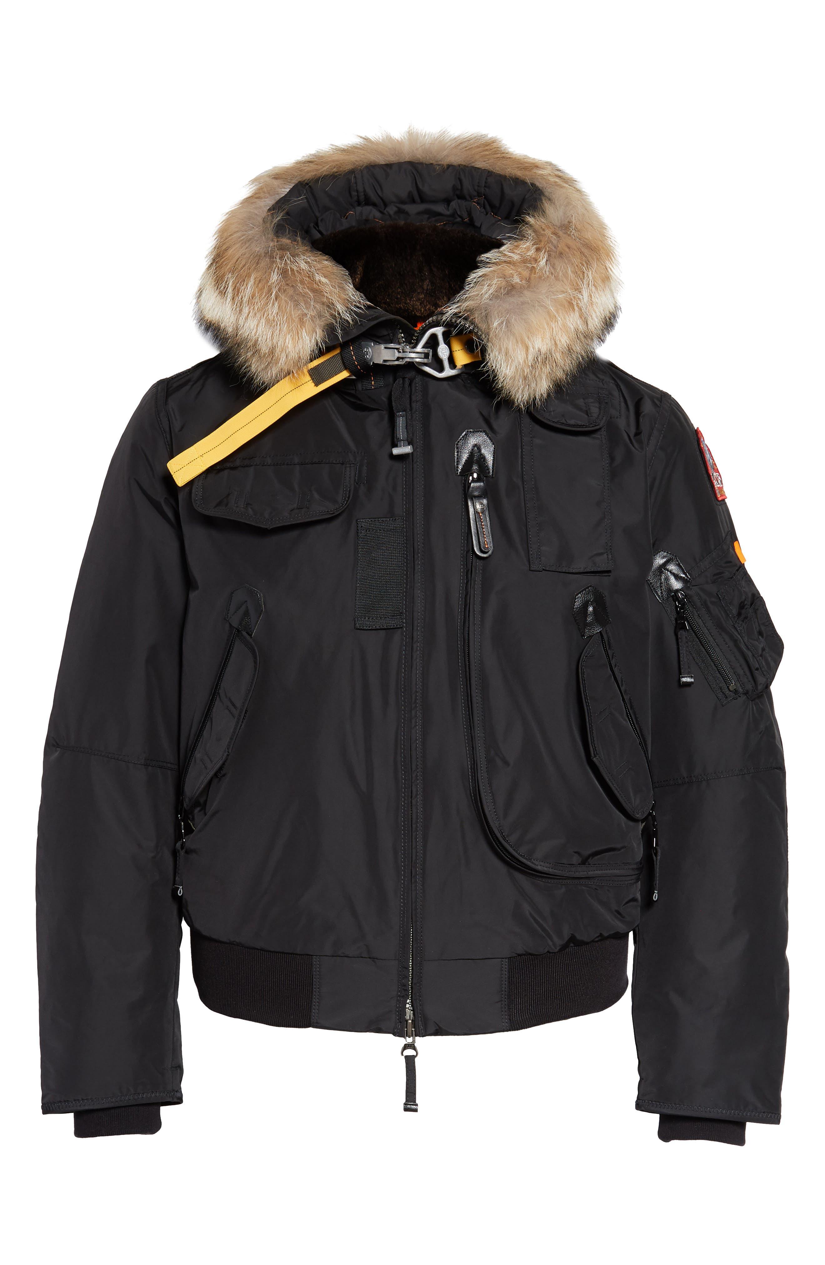 Gobi 700 Fill Power Down Bomber Jacket with Genuine Coyote Fur Trim,                             Alternate thumbnail 6, color,                             BLACK