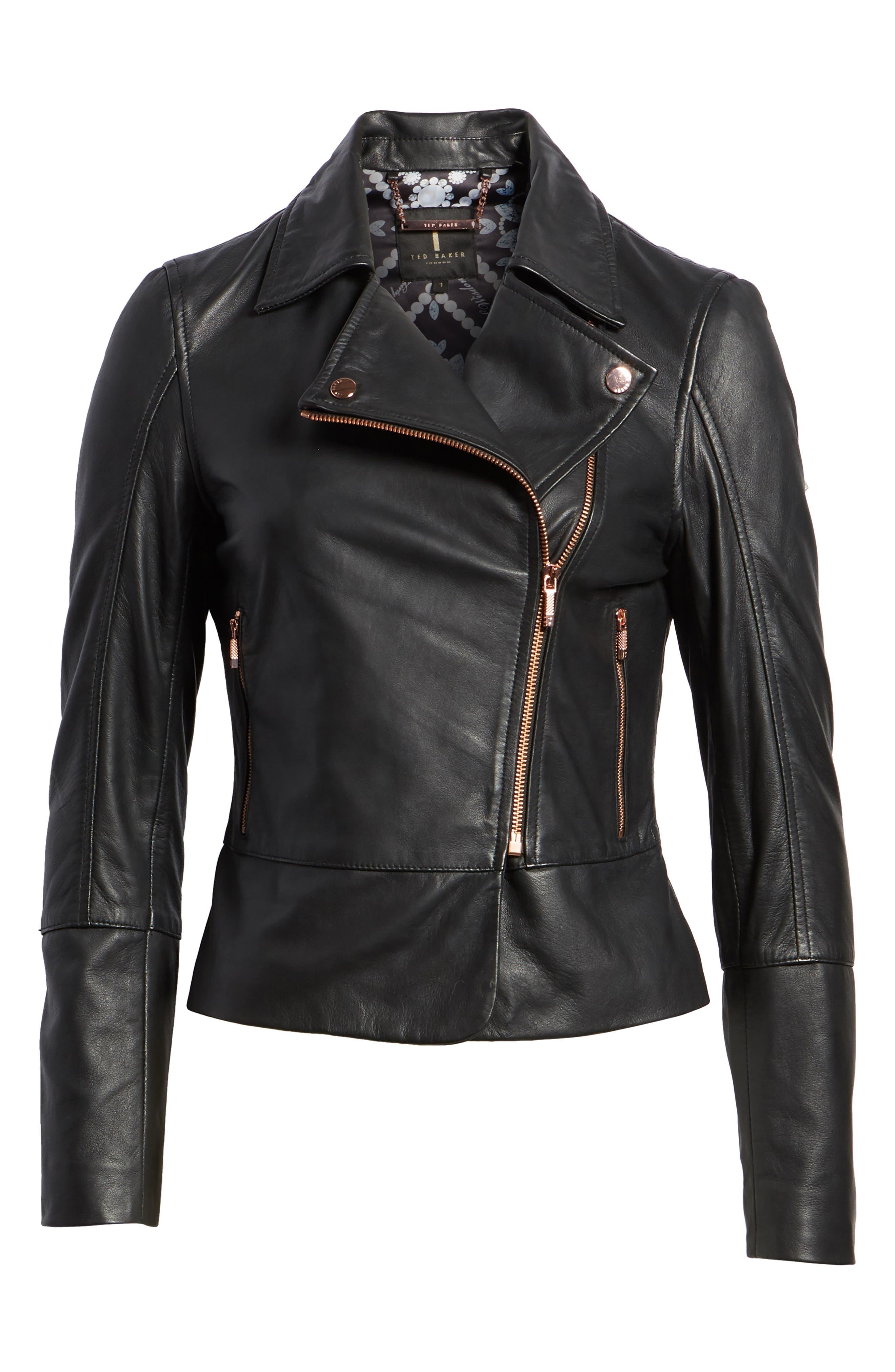 Lizia Leather Biker Jacket,                             Alternate thumbnail 6, color,                             001
