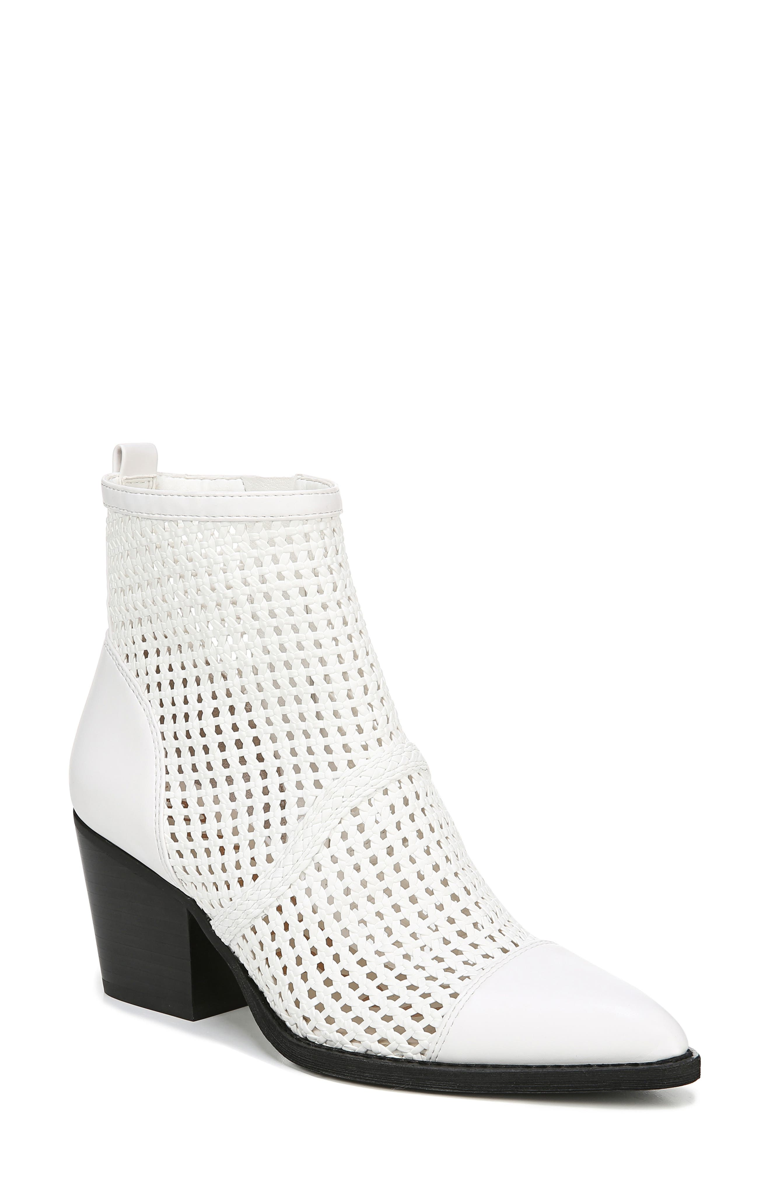 Sam Edelman Elita Woven Cap Toe Bootie, White
