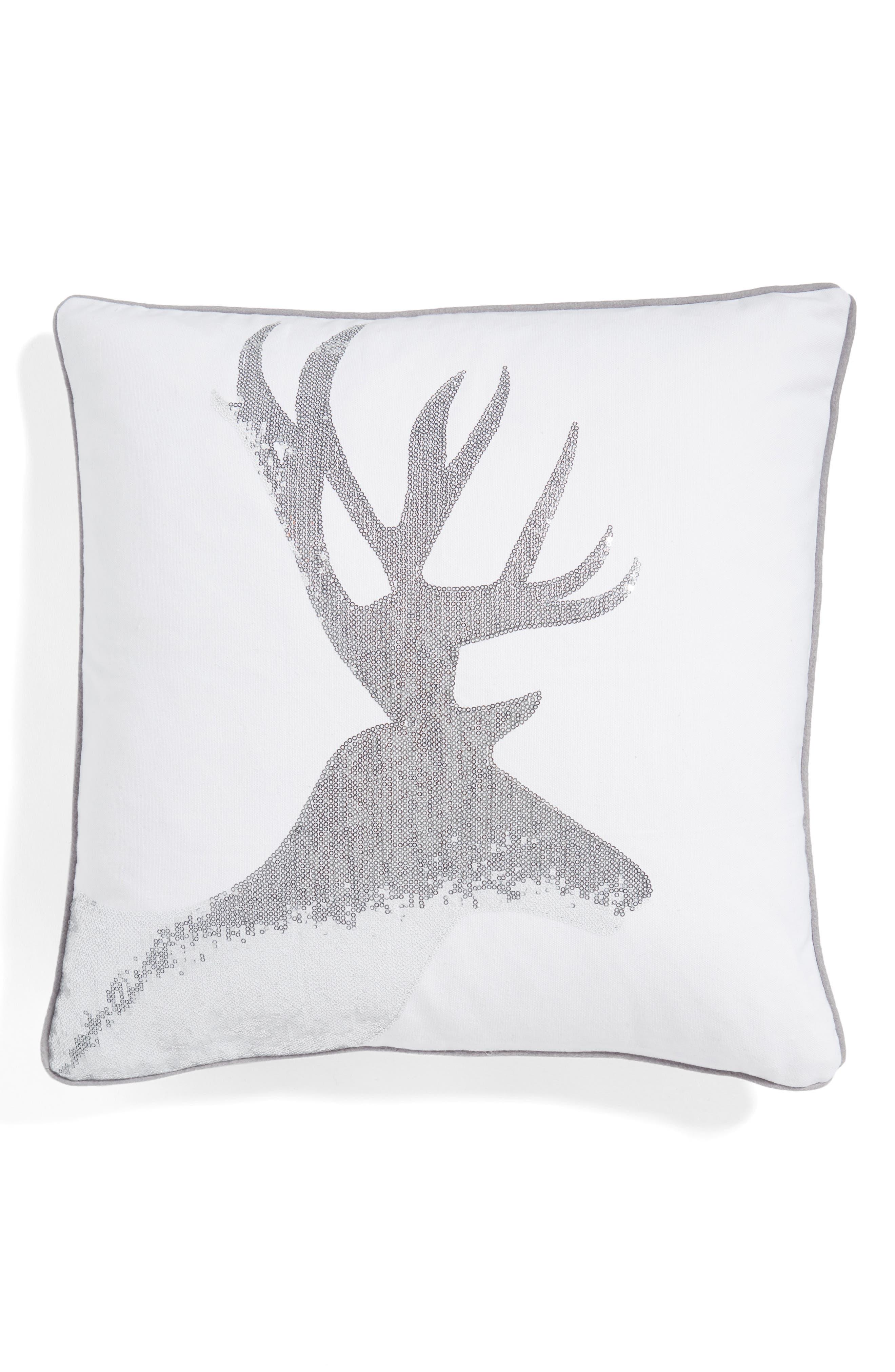 Sequin Reindeer Pillow, Main, color, 100