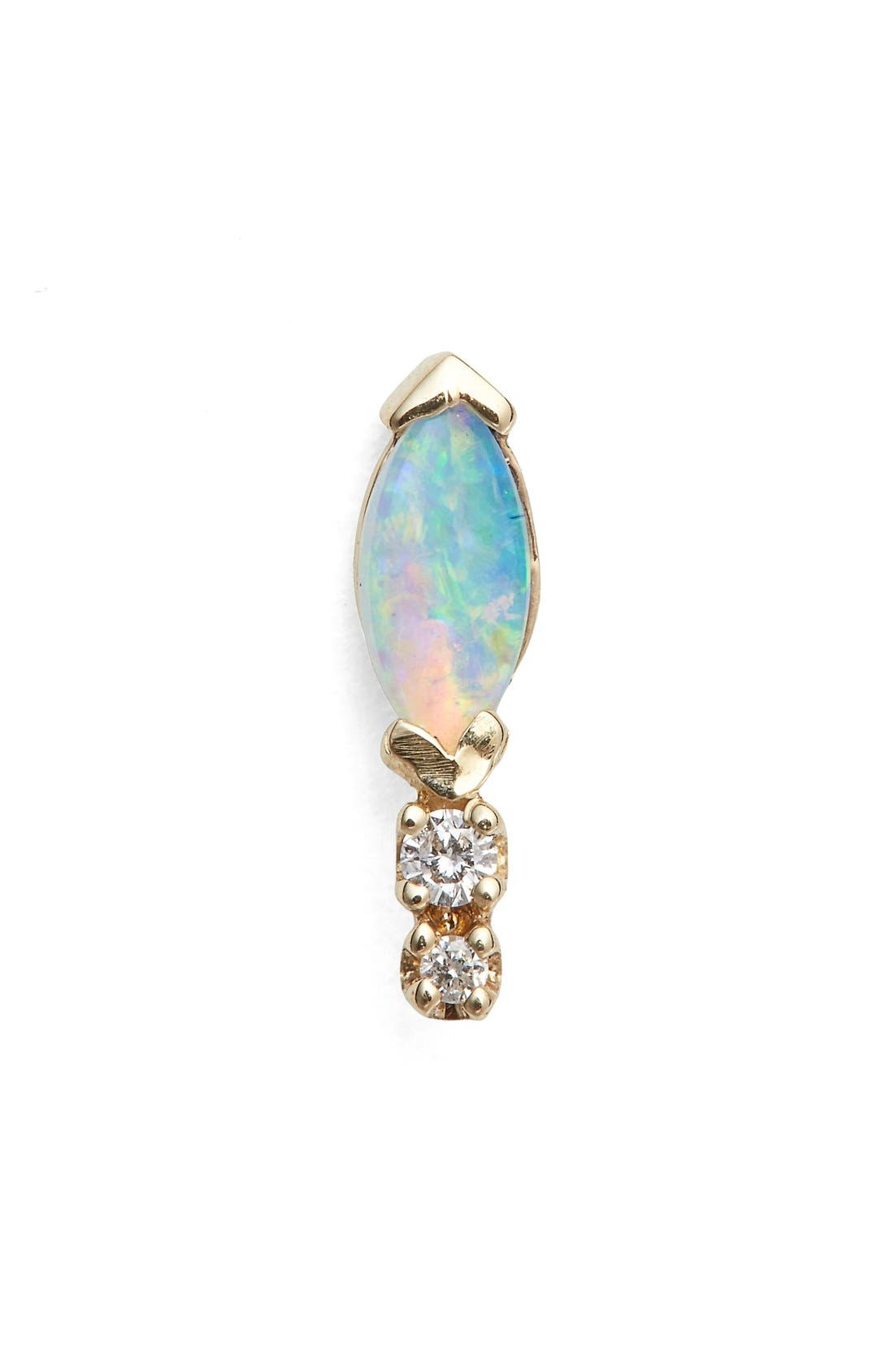 Marquise Opal & Diamond Stud Earring,                             Main thumbnail 1, color,                             710