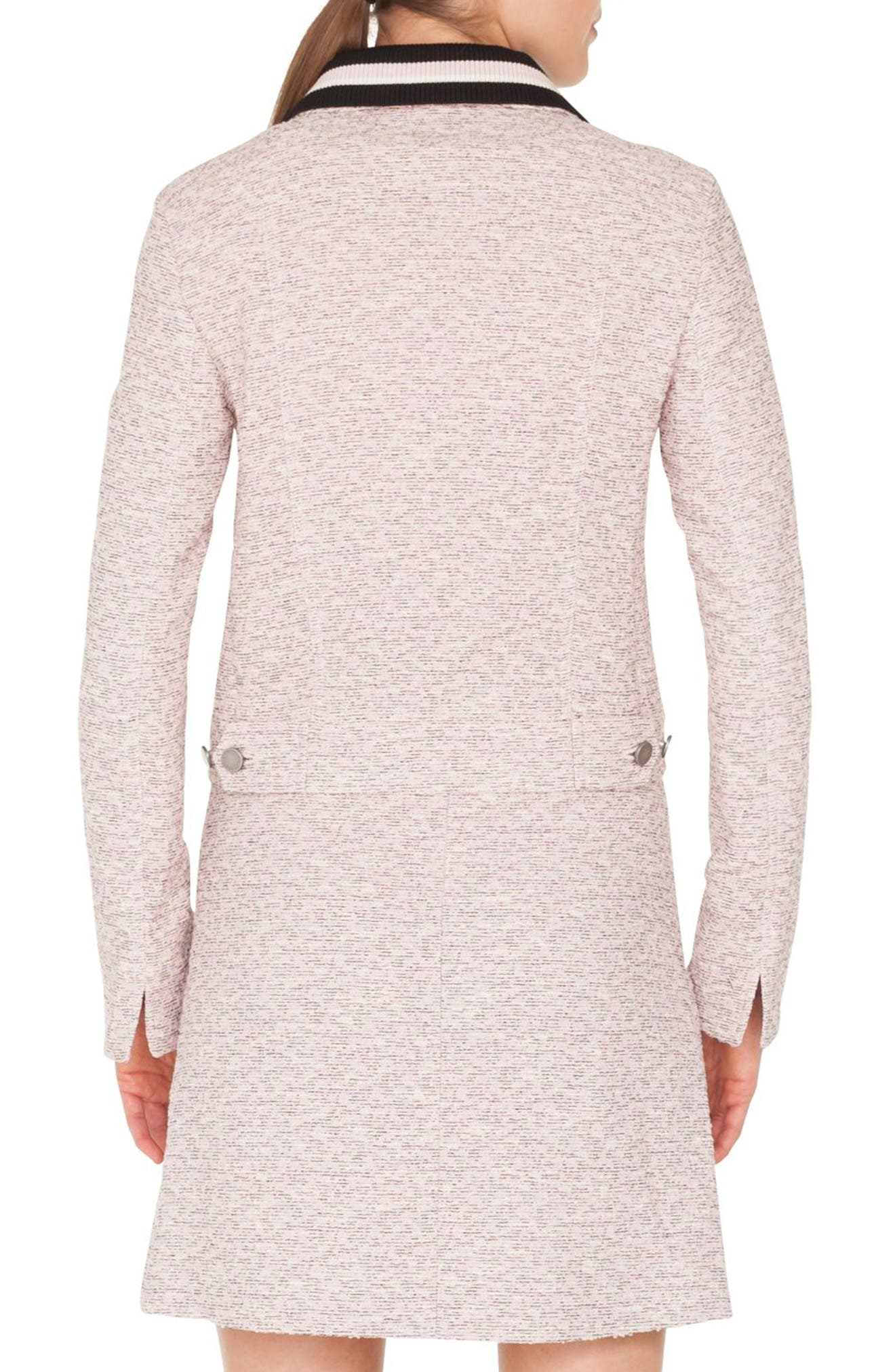 Button Front Tweed Jacket with Detachable Knit Collar,                             Alternate thumbnail 2, color,                             ROSE - CREAM -
