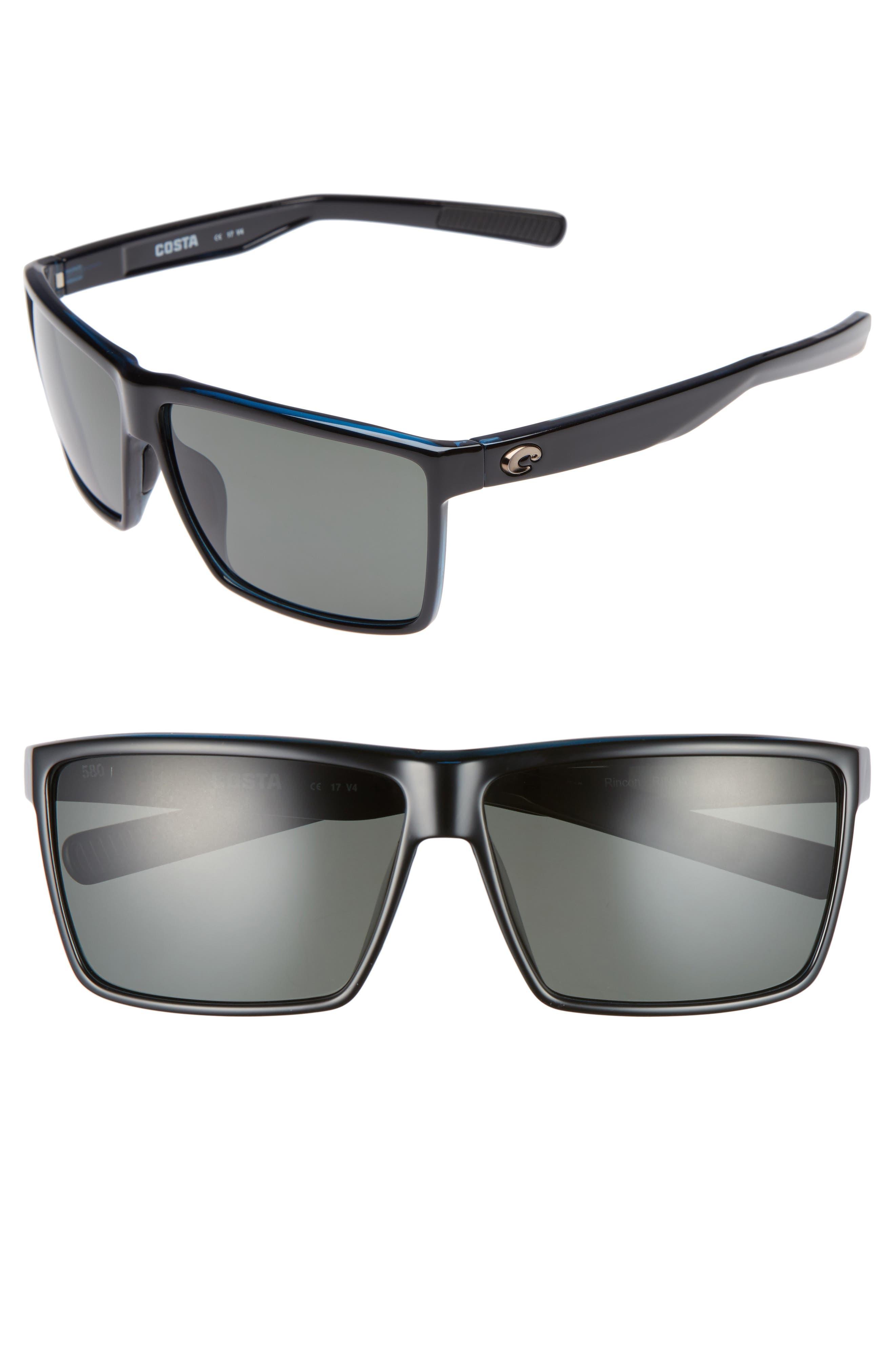 COSTA DEL MAR Rincon 60mm Polarized Sunglasses, Main, color, 001