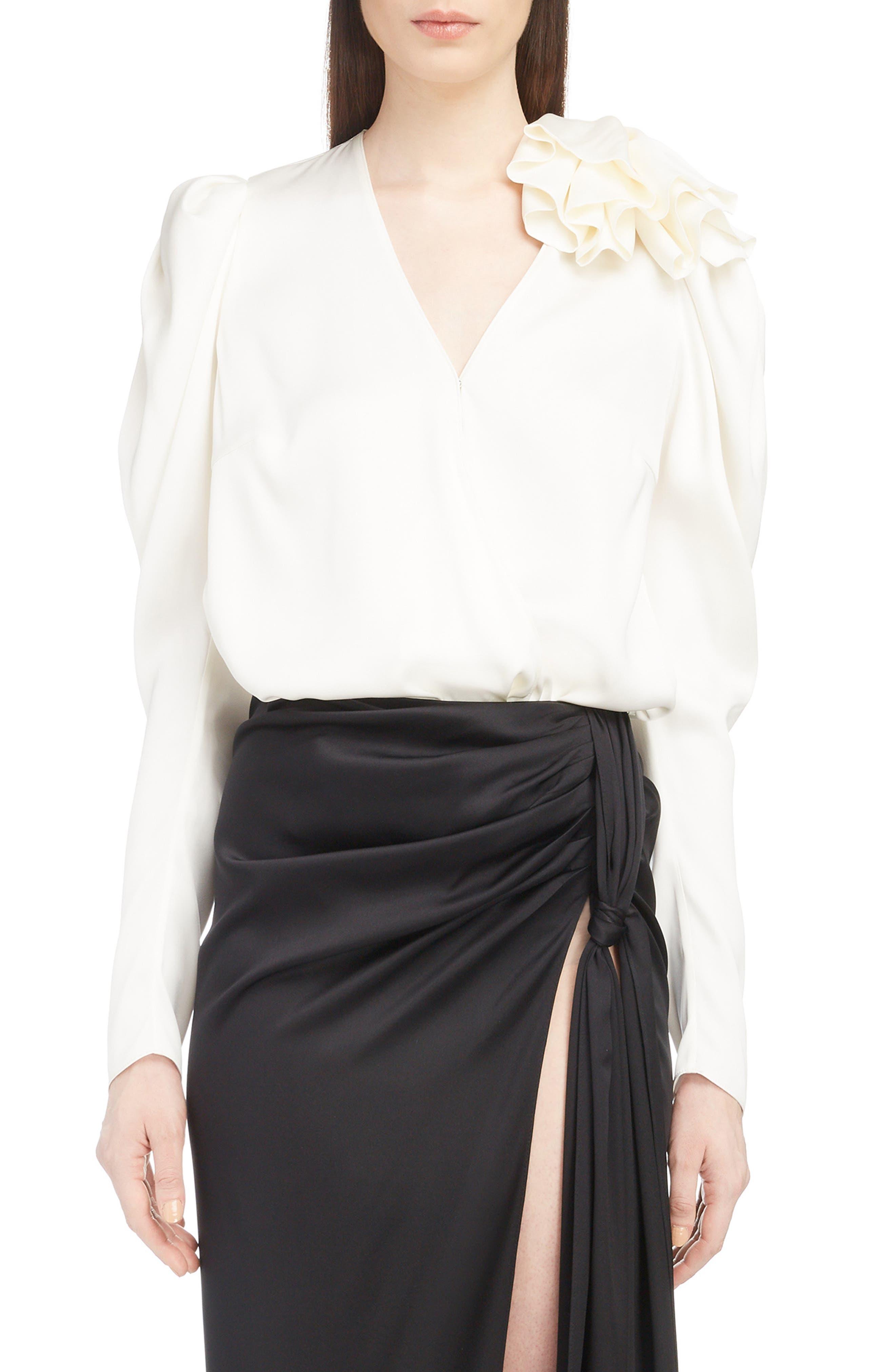 Ruffle Shoulder Silk Blouse,                         Main,                         color, CREAM