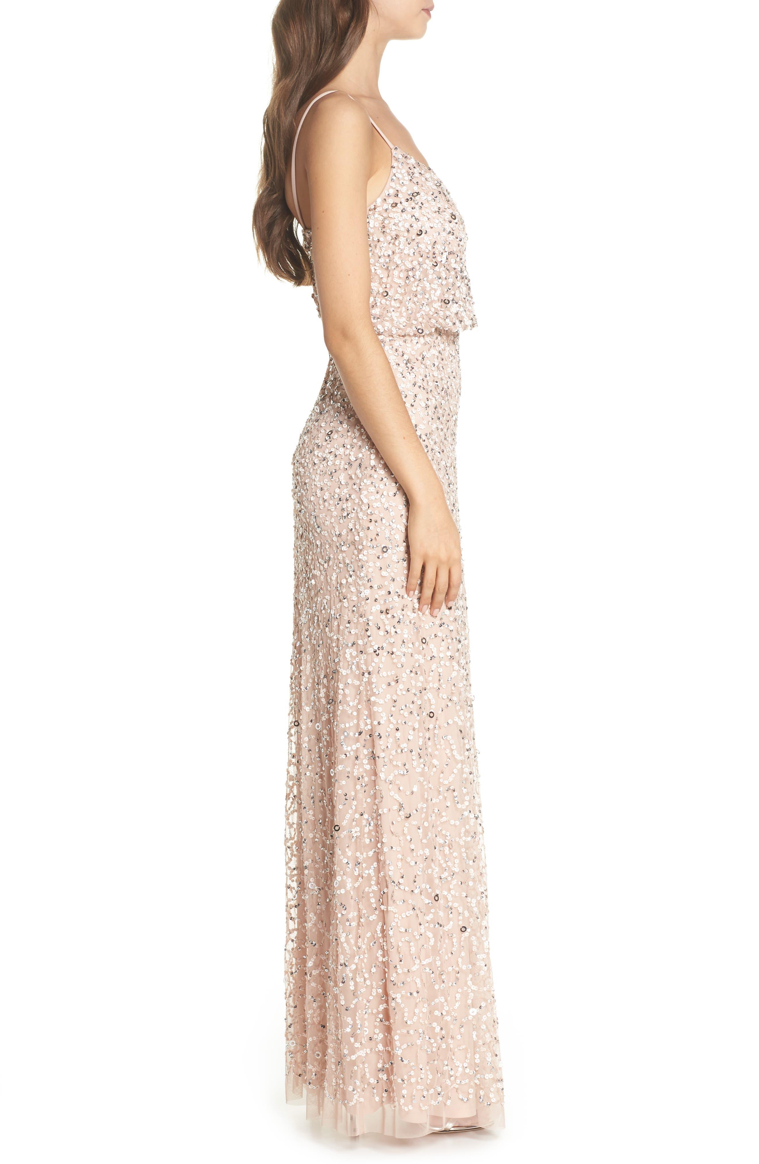 Sequin Blouson Gown,                             Alternate thumbnail 3, color,                             BLUSH