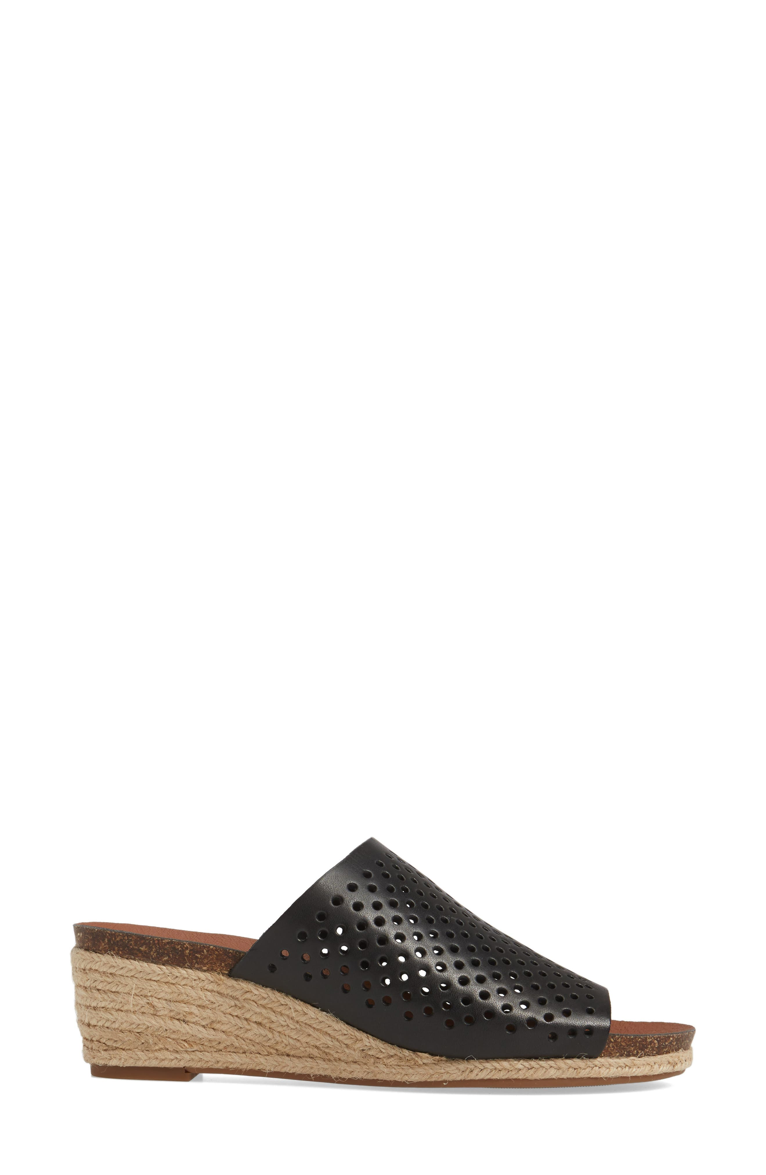 Jemya Perforated Open Toe Mule,                             Alternate thumbnail 3, color,                             001
