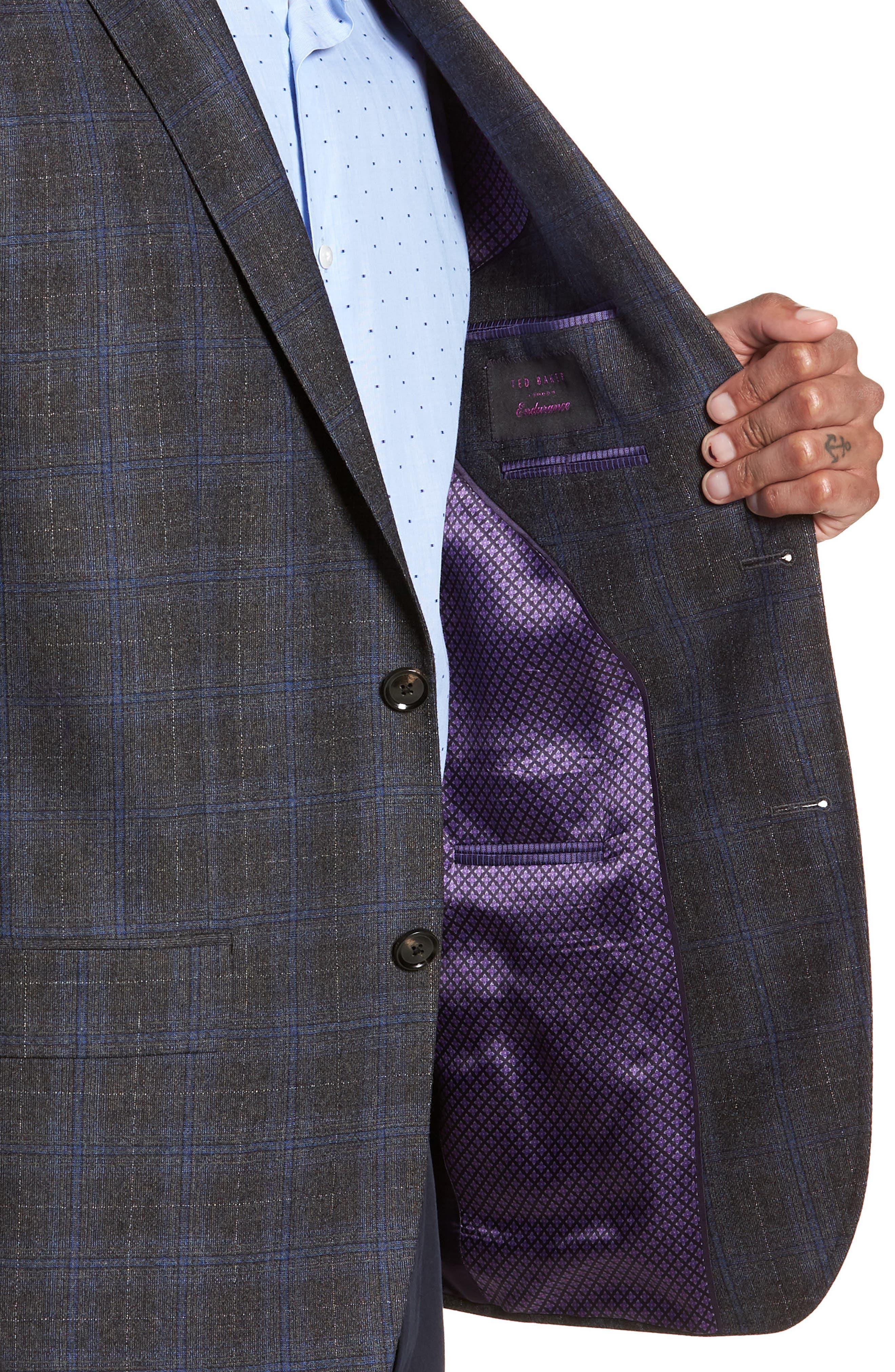 Konan Trim Fit Plaid Wool Sport Coat,                             Alternate thumbnail 4, color,                             020
