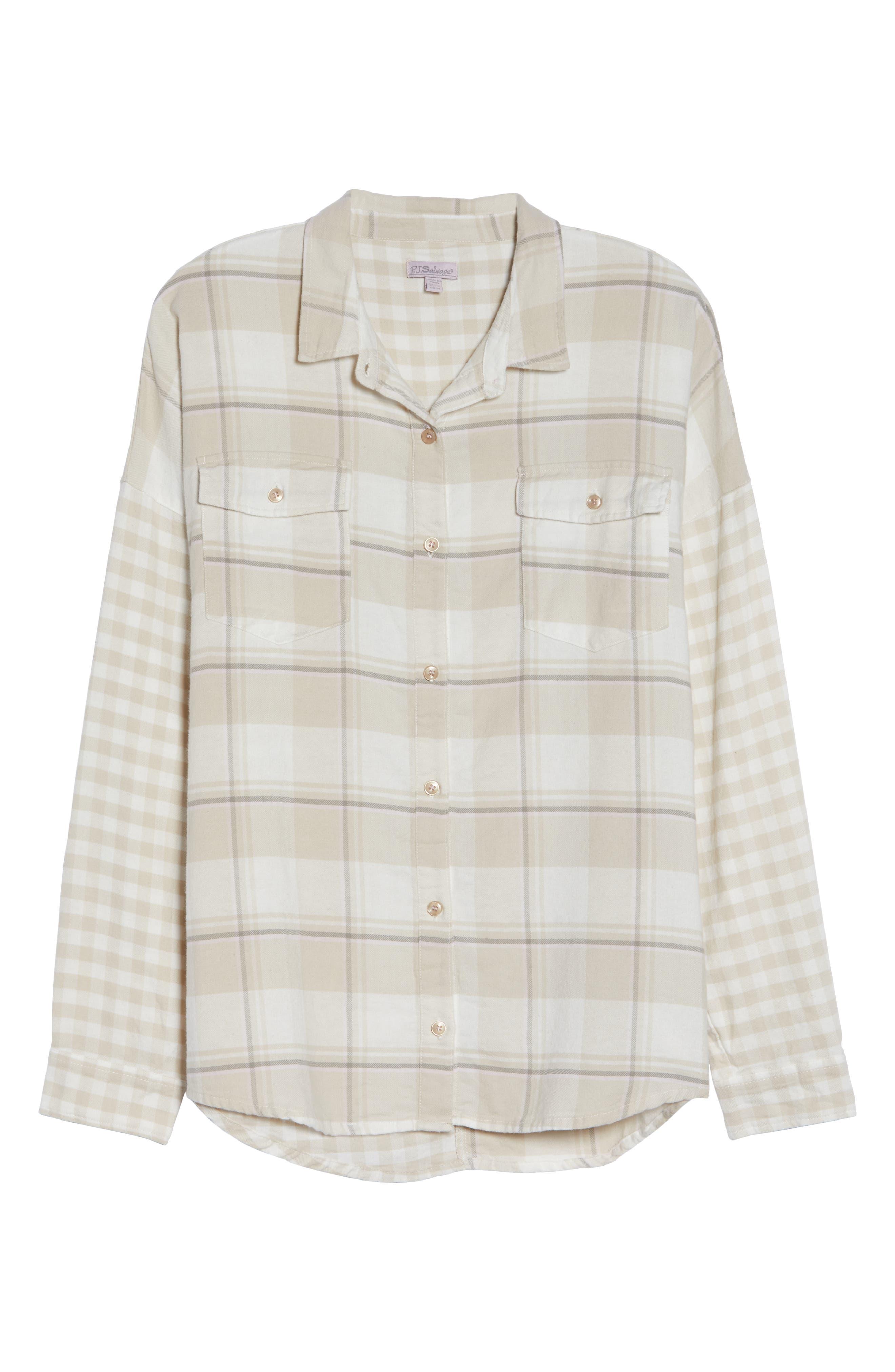 Plaid Shirt,                             Alternate thumbnail 6, color,                             CHAMPAGNE