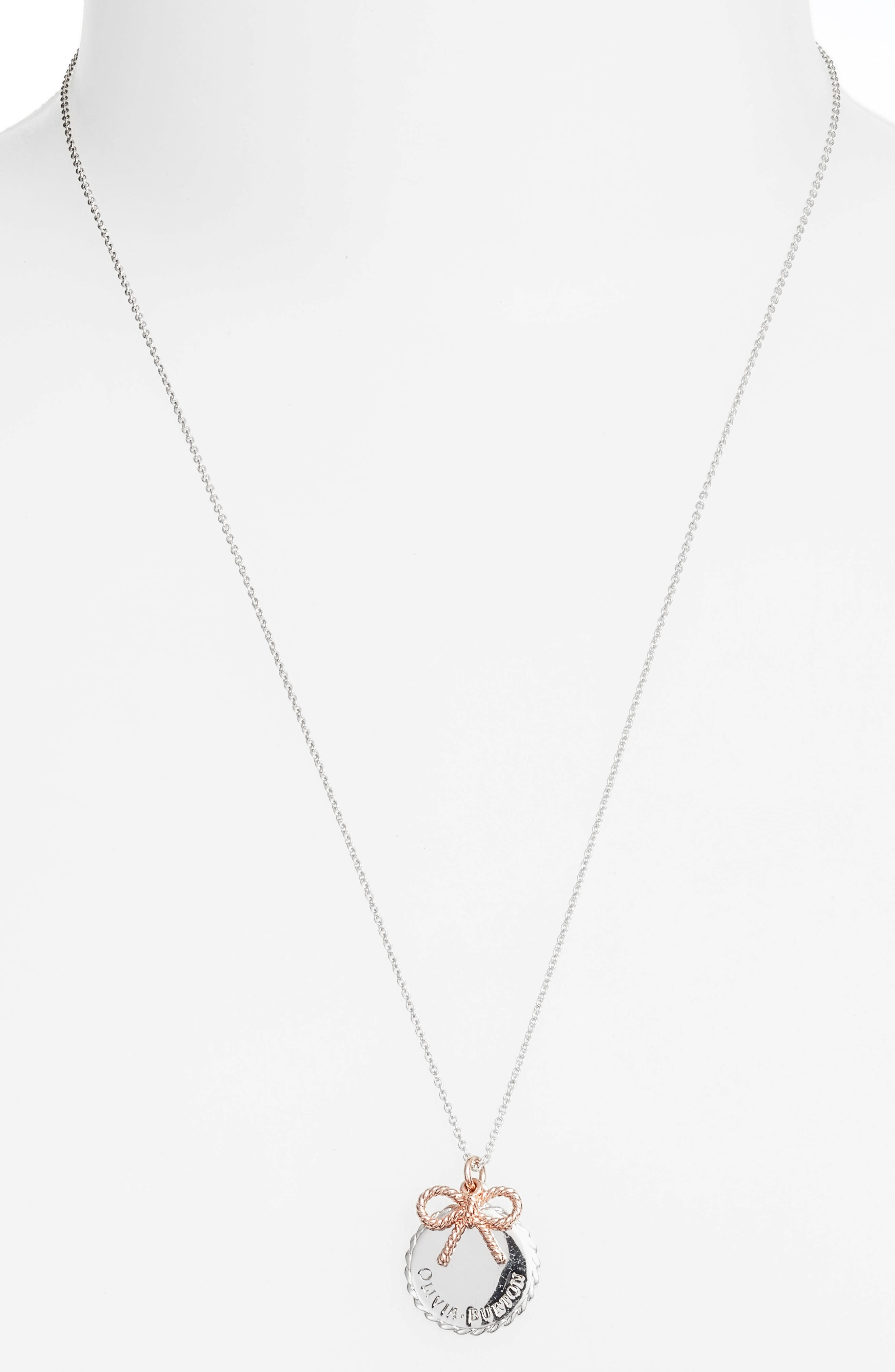 Coin & Bow Pendant Necklace,                             Alternate thumbnail 2, color,                             SILVER/ ROSE GOLD