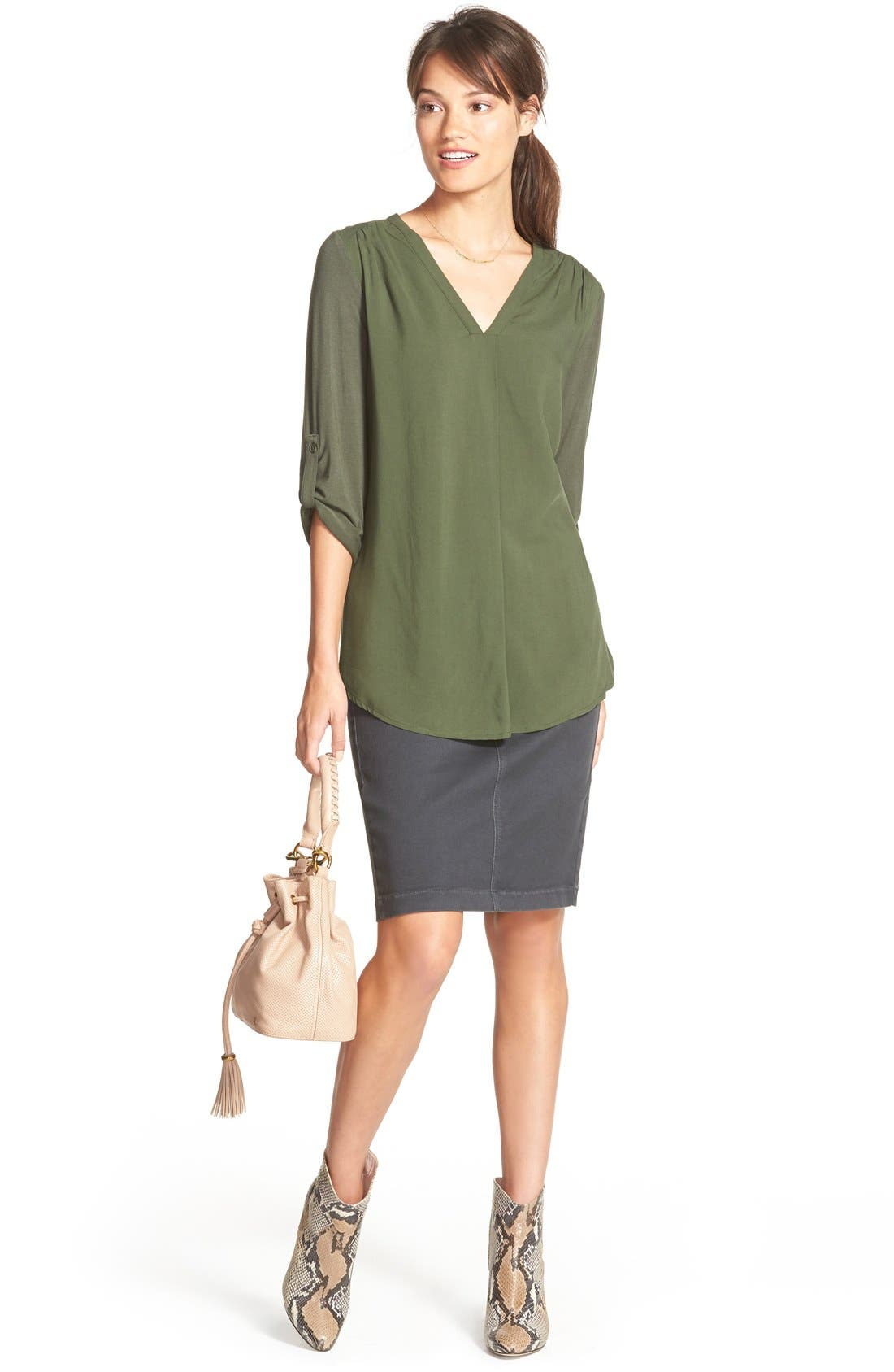 Mixed Media V-Neck Tunic,                             Alternate thumbnail 116, color,