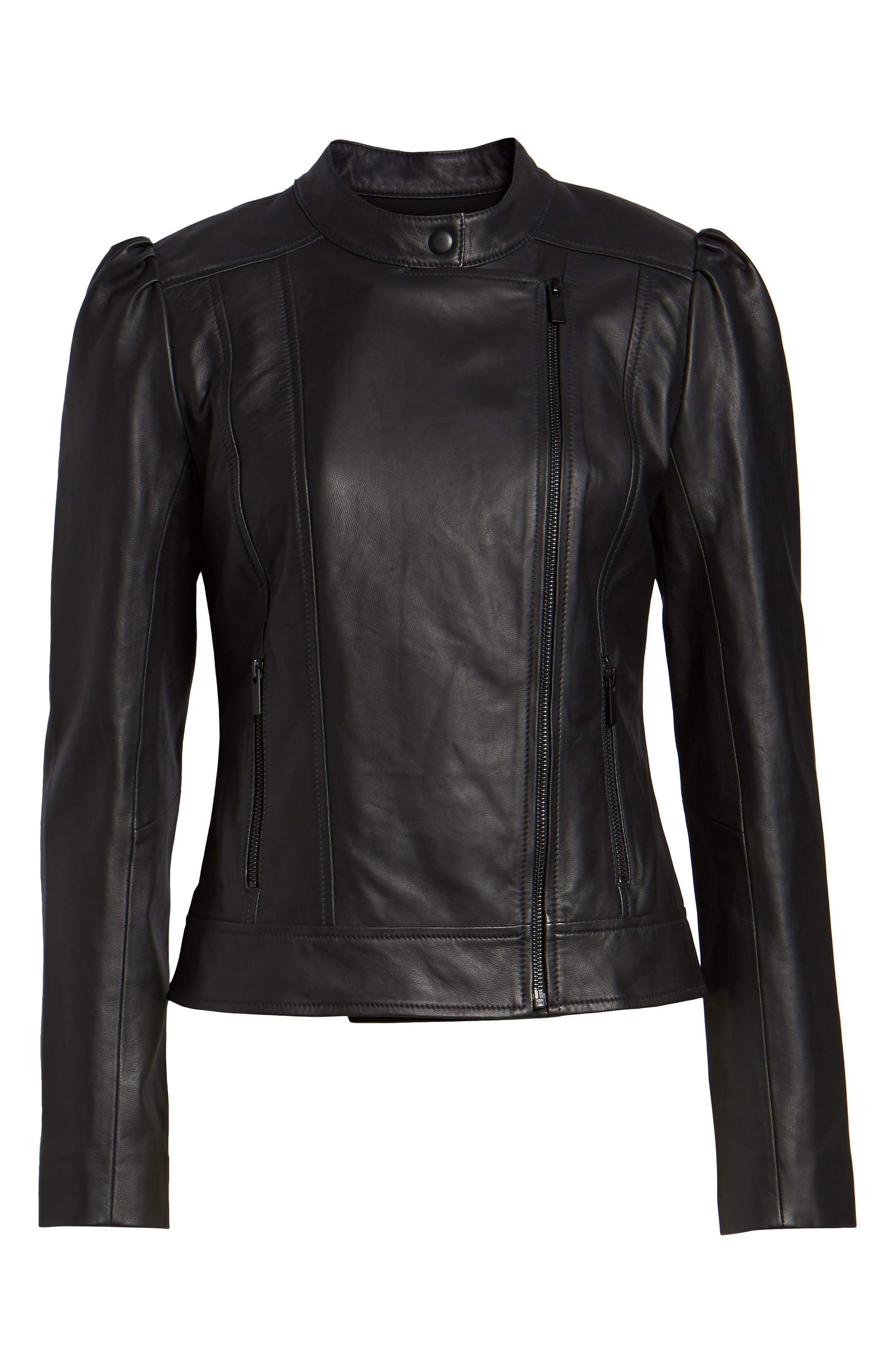 HALOGEN<SUP>®</SUP>,                             Leather Jacket,                             Alternate thumbnail 6, color,                             001