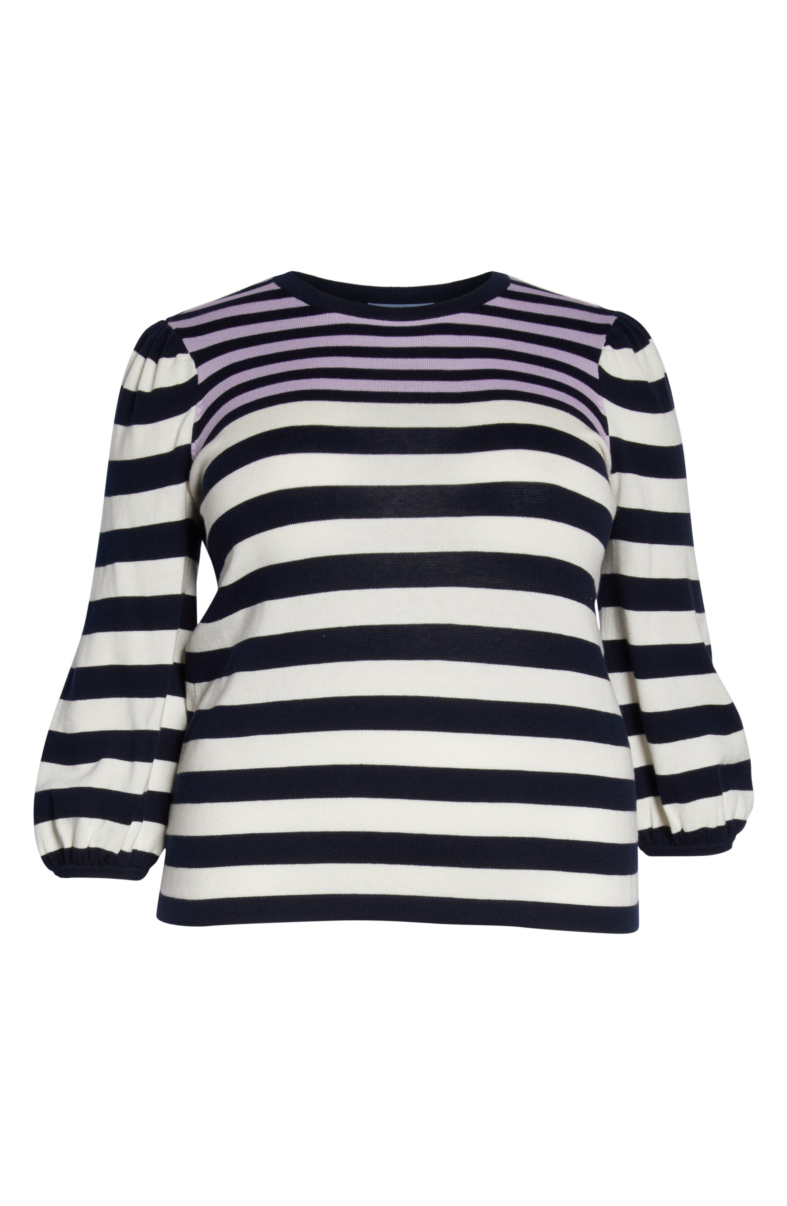 Stripe Blouson Sleeve Sweater,                             Alternate thumbnail 6, color,                             CAVIAR