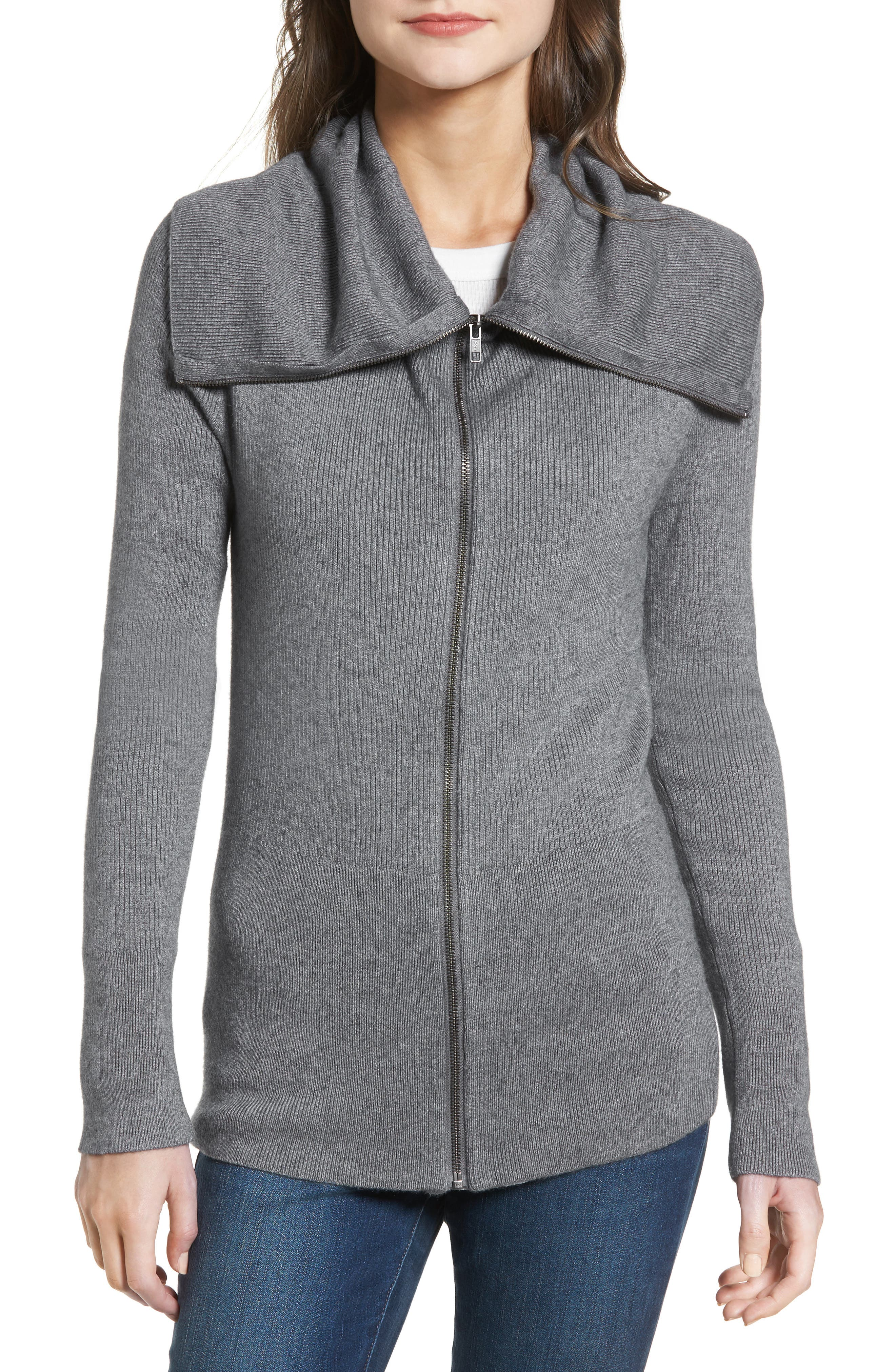 Wide Collar Zip Sweater,                             Alternate thumbnail 4, color,