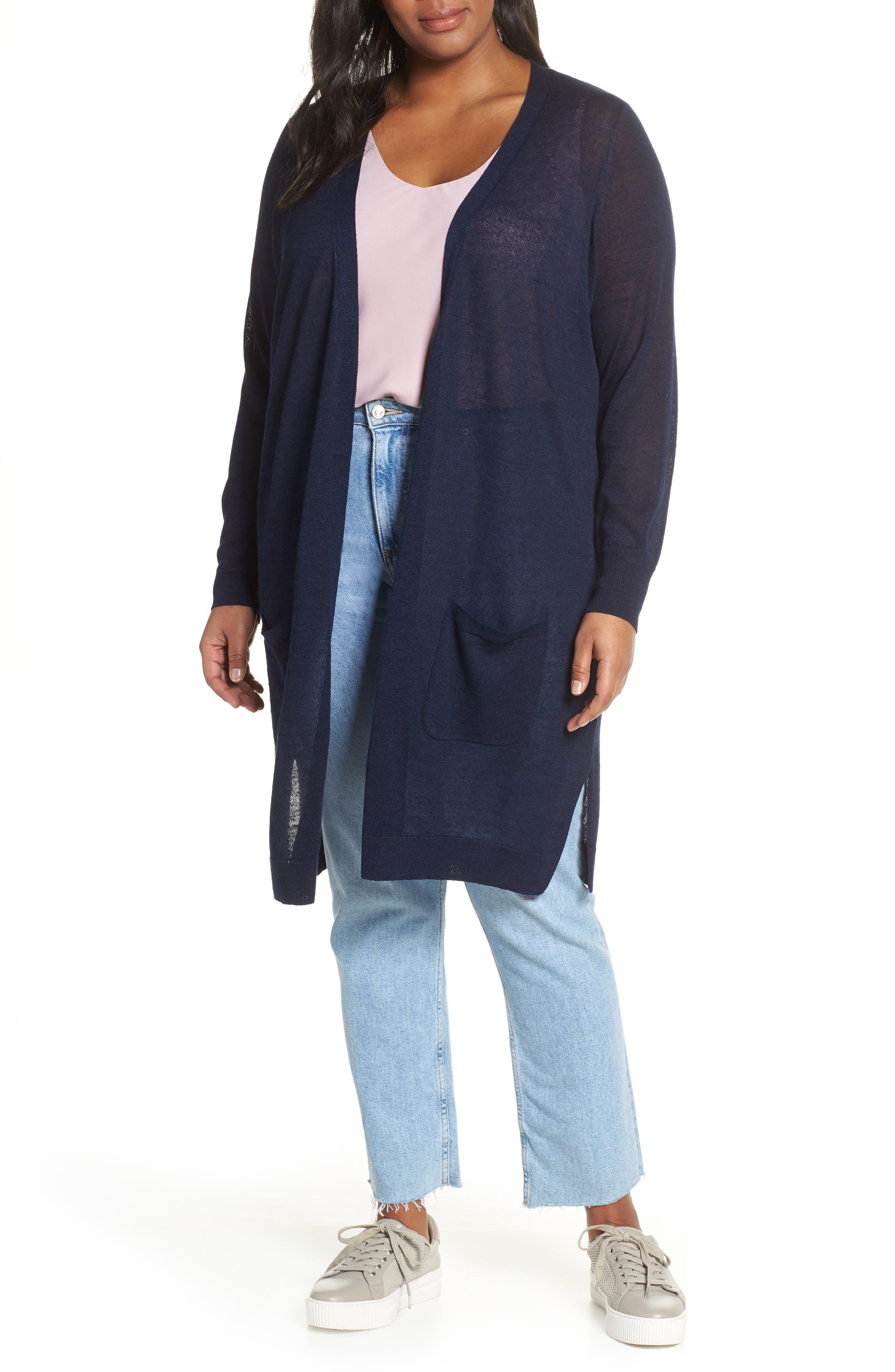 Plus Size Halogen Long Cardigan, Blue