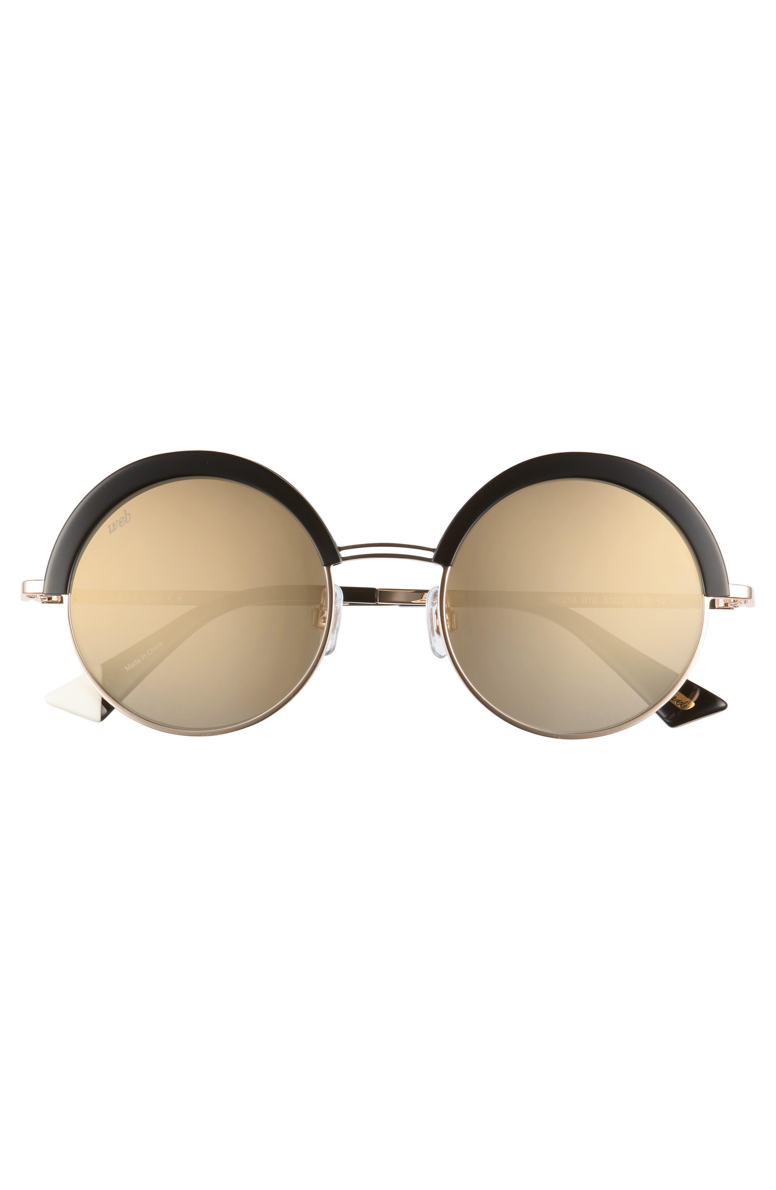 51mm Round Sunglasses,                             Alternate thumbnail 3, color,                             SHINY BLACK/ SMOKE MIRROR