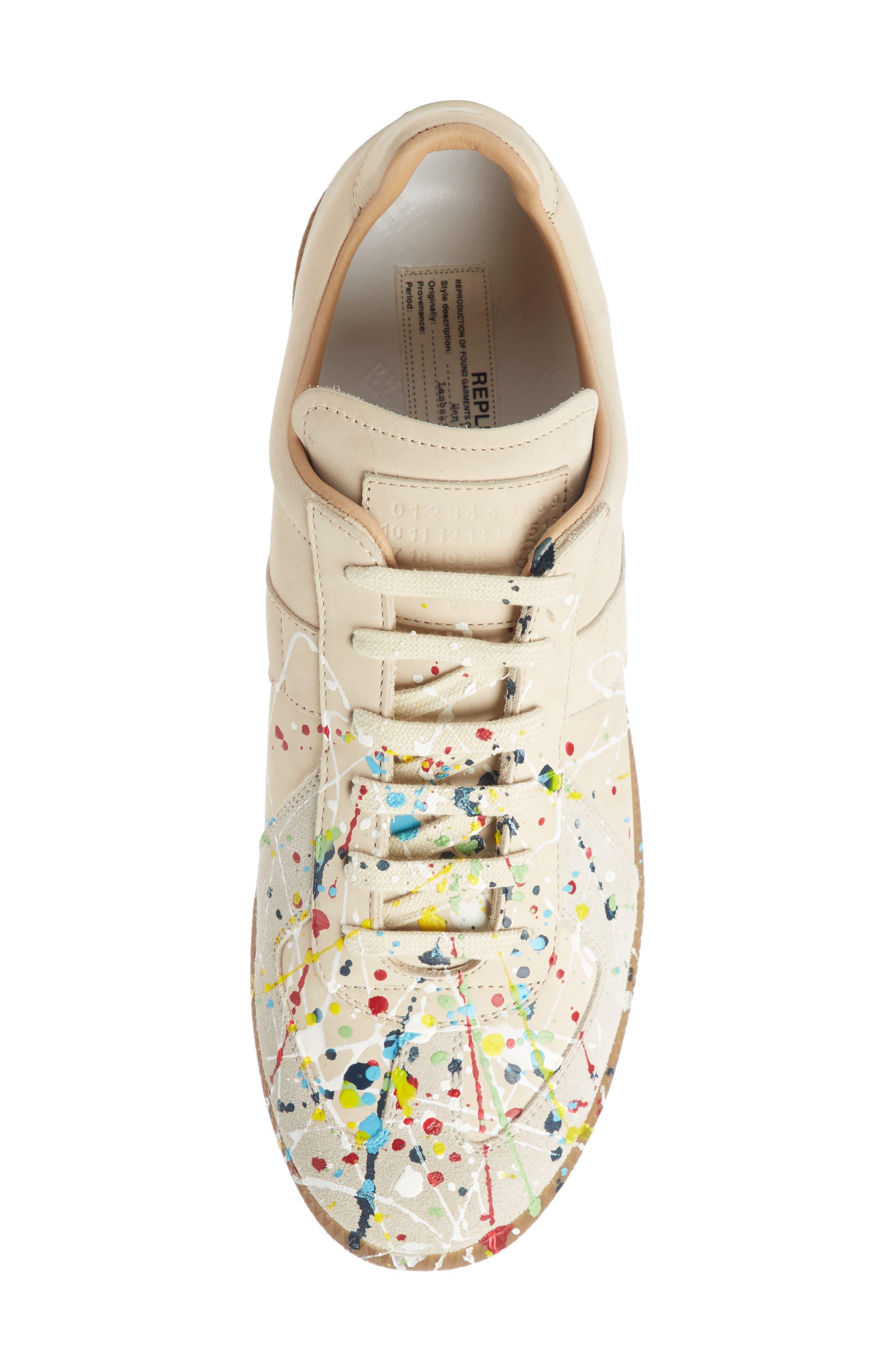 Maison Margiela Replica Low Top Sneaker,                             Alternate thumbnail 4, color,                             BEIGE / PAINT