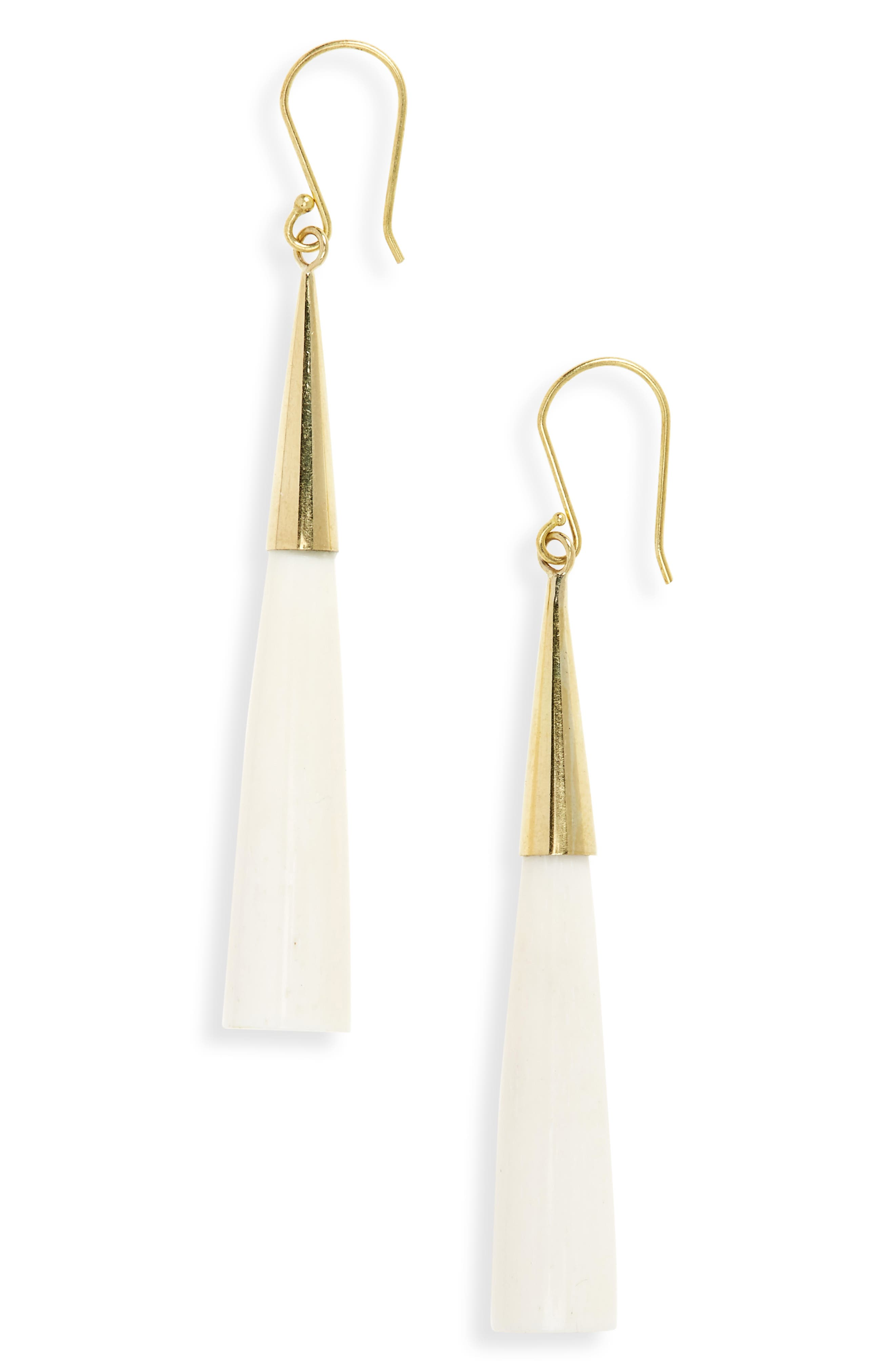 Pia Linear Earrings,                         Main,                         color, BRASS AND WHITE