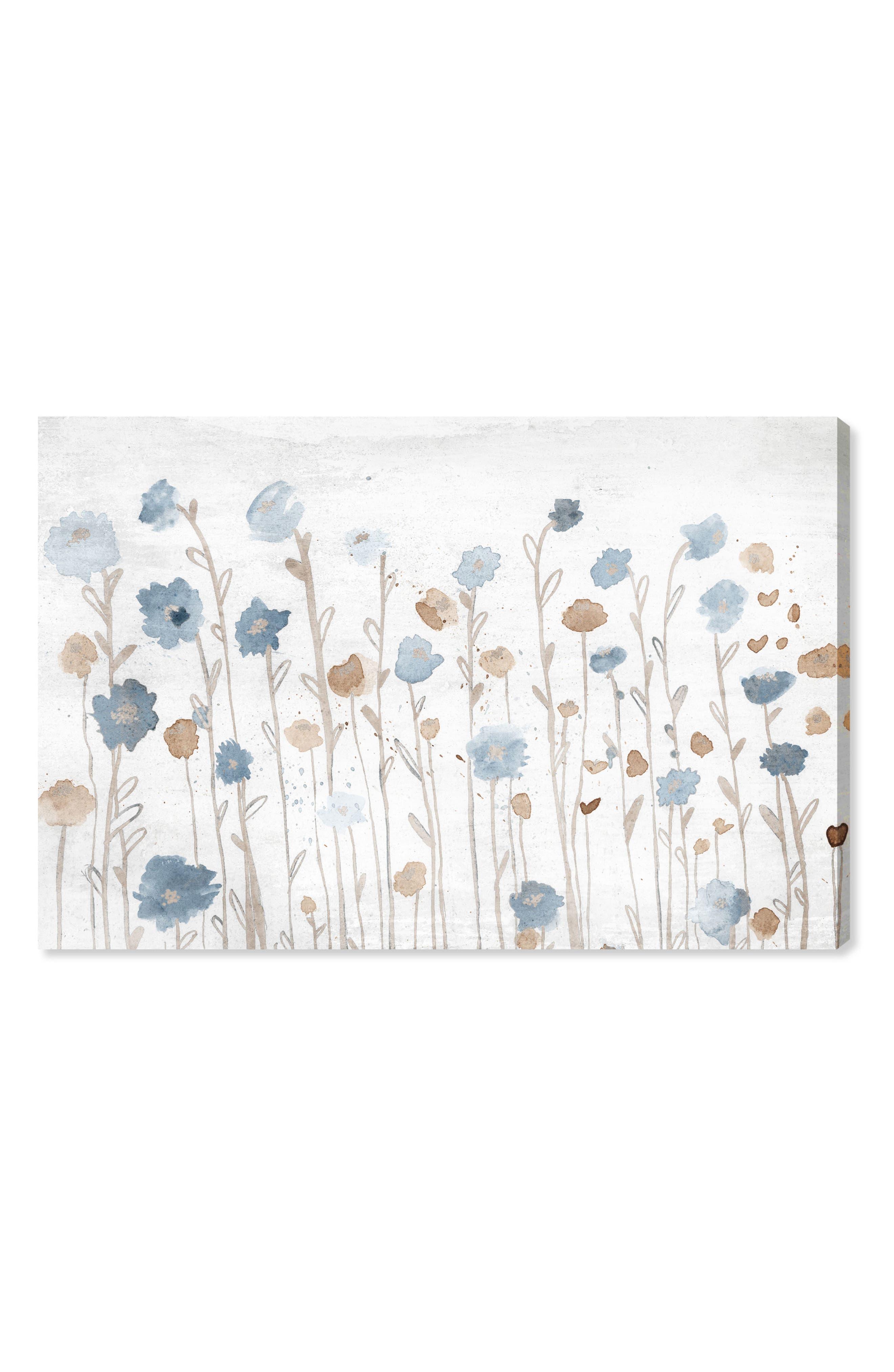 Beautiful Growth Light Blue Canvas Wall Art,                             Main thumbnail 1, color,                             WHITE