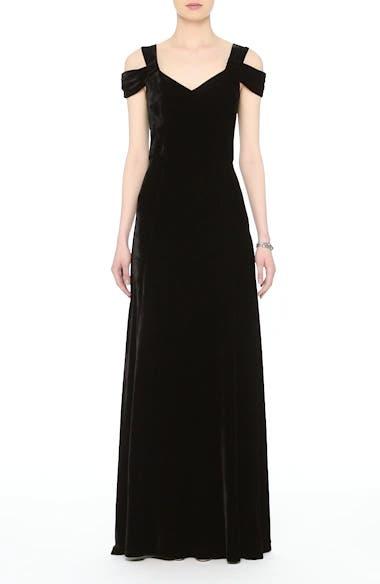 St. John Collection Cold Shoulder Velvet Gown, video thumbnail