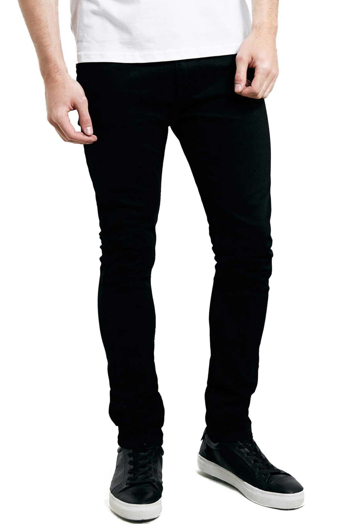 Skinny Stretch Jeans,                             Main thumbnail 1, color,                             BLACK