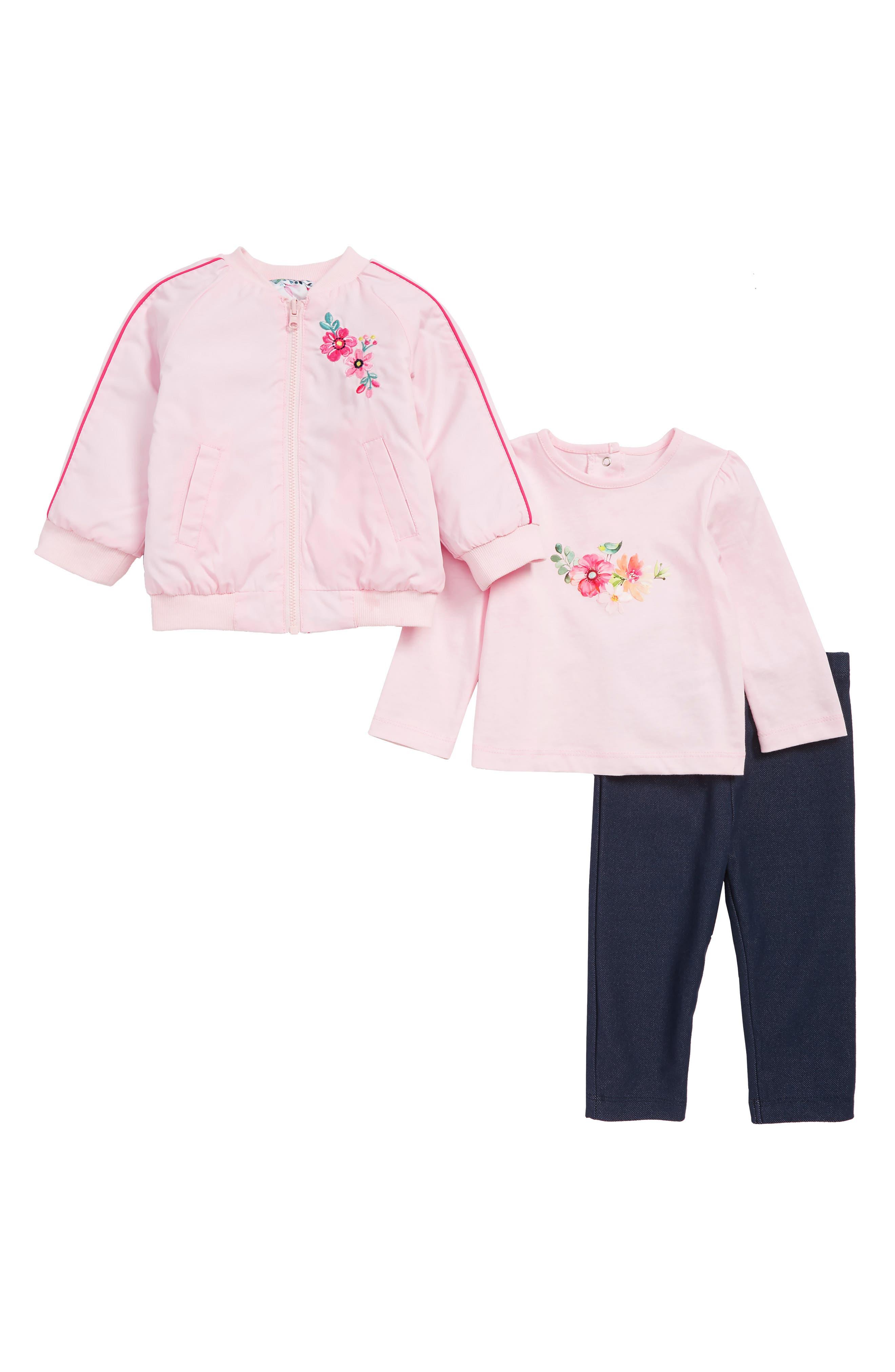 LITTLE ME,                             Reversible Jacket, T-Shirt & Leggings Set,                             Alternate thumbnail 2, color,                             PINK MULTI