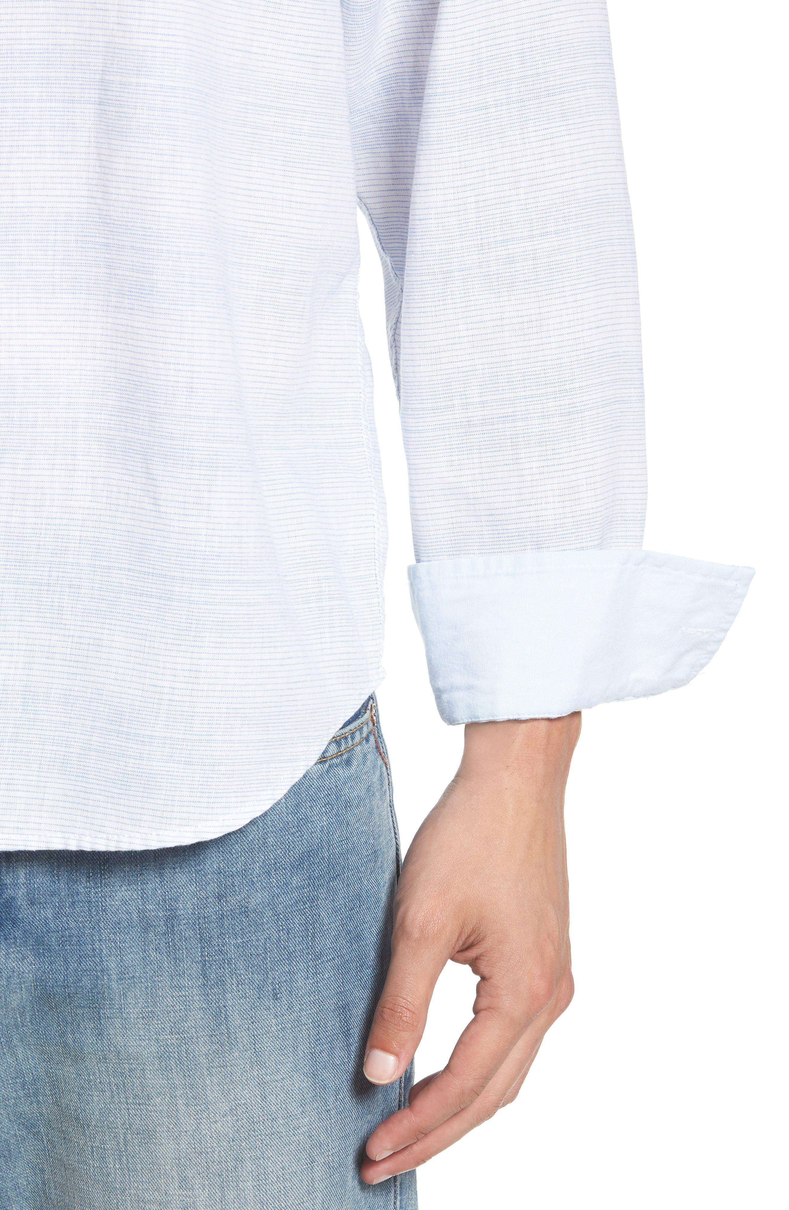 Sunset Ombré Linen Blend Sport Shirt,                             Alternate thumbnail 4, color,                             100