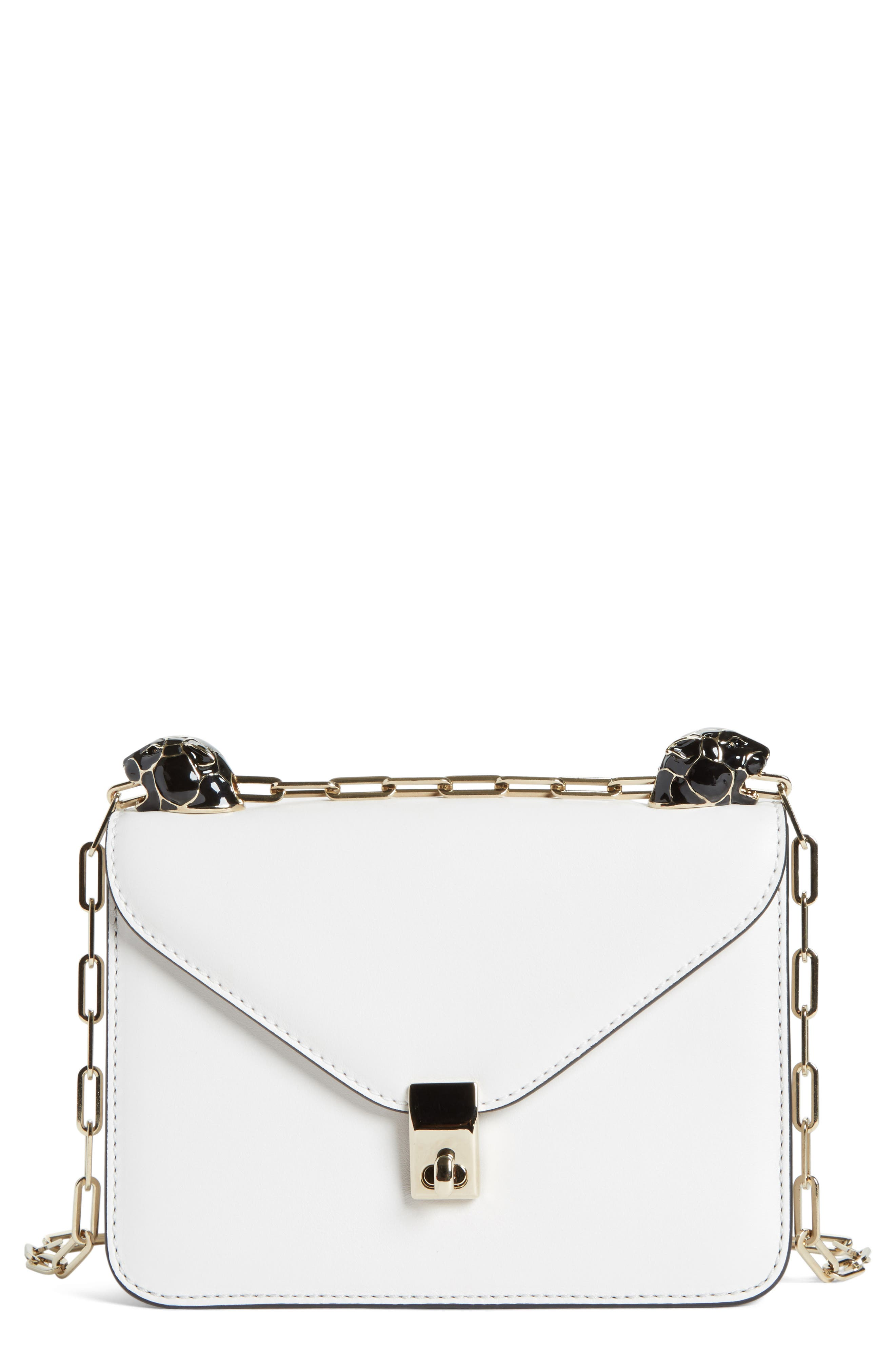 Small Panther Leather Shoulder Bag,                         Main,                         color, 100
