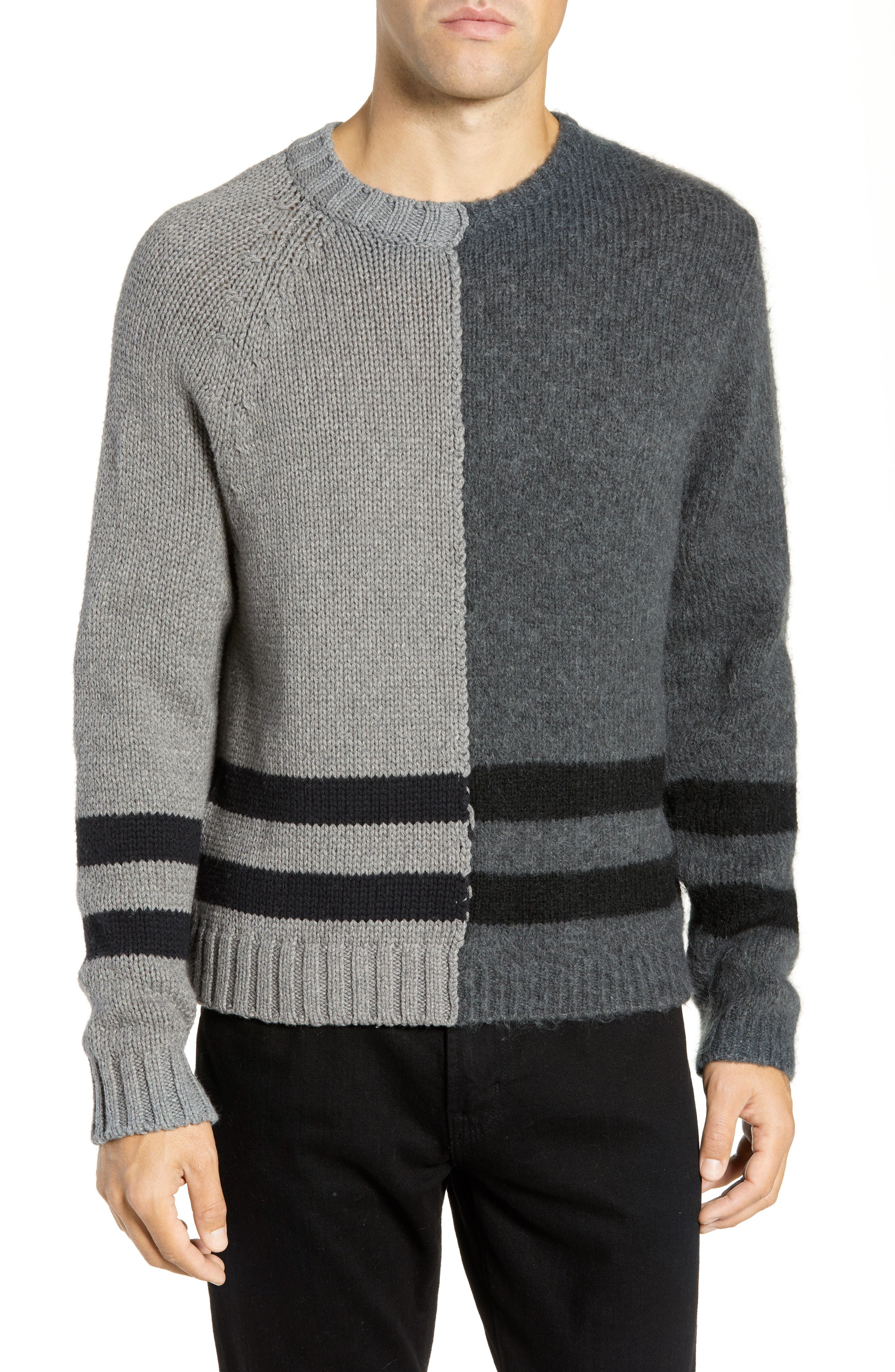 French Connection Regular Fit Colorblock Stripe Detail Sweater, Grey