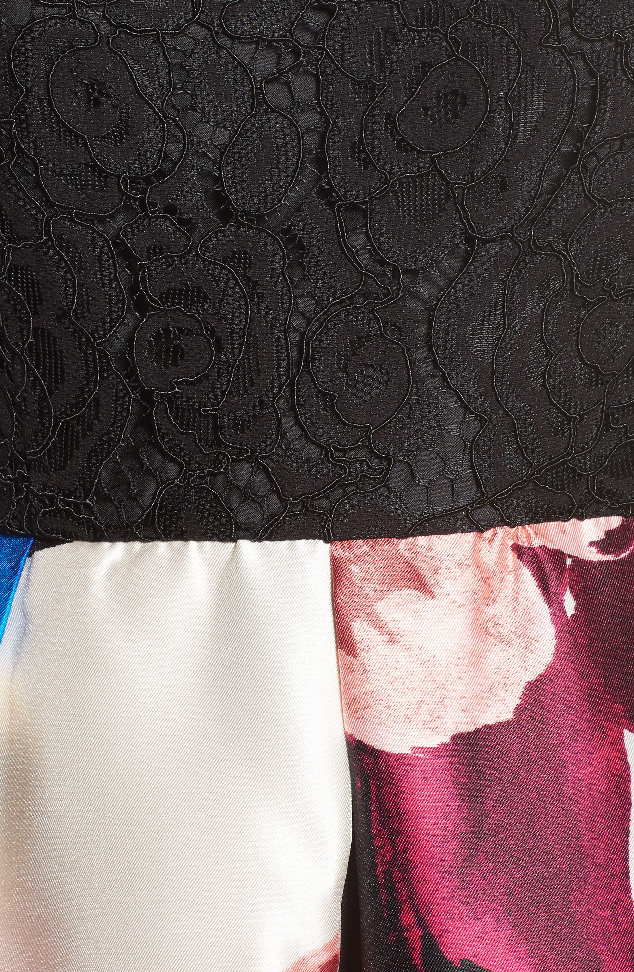 Lace Bodice Midi Dress,                             Alternate thumbnail 5, color,                             006