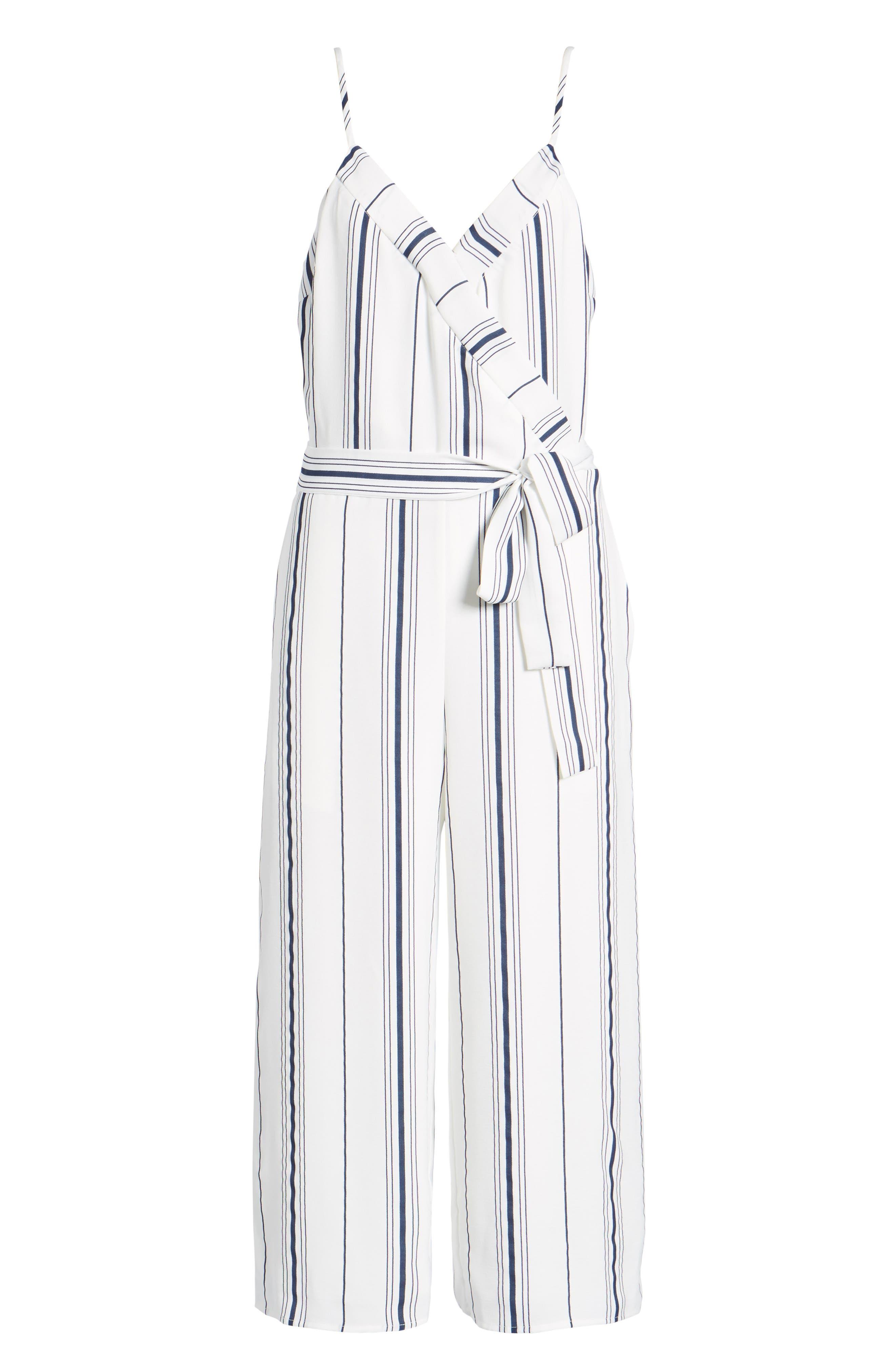 Stripe Crop Jumpsuit,                             Alternate thumbnail 6, color,                             100