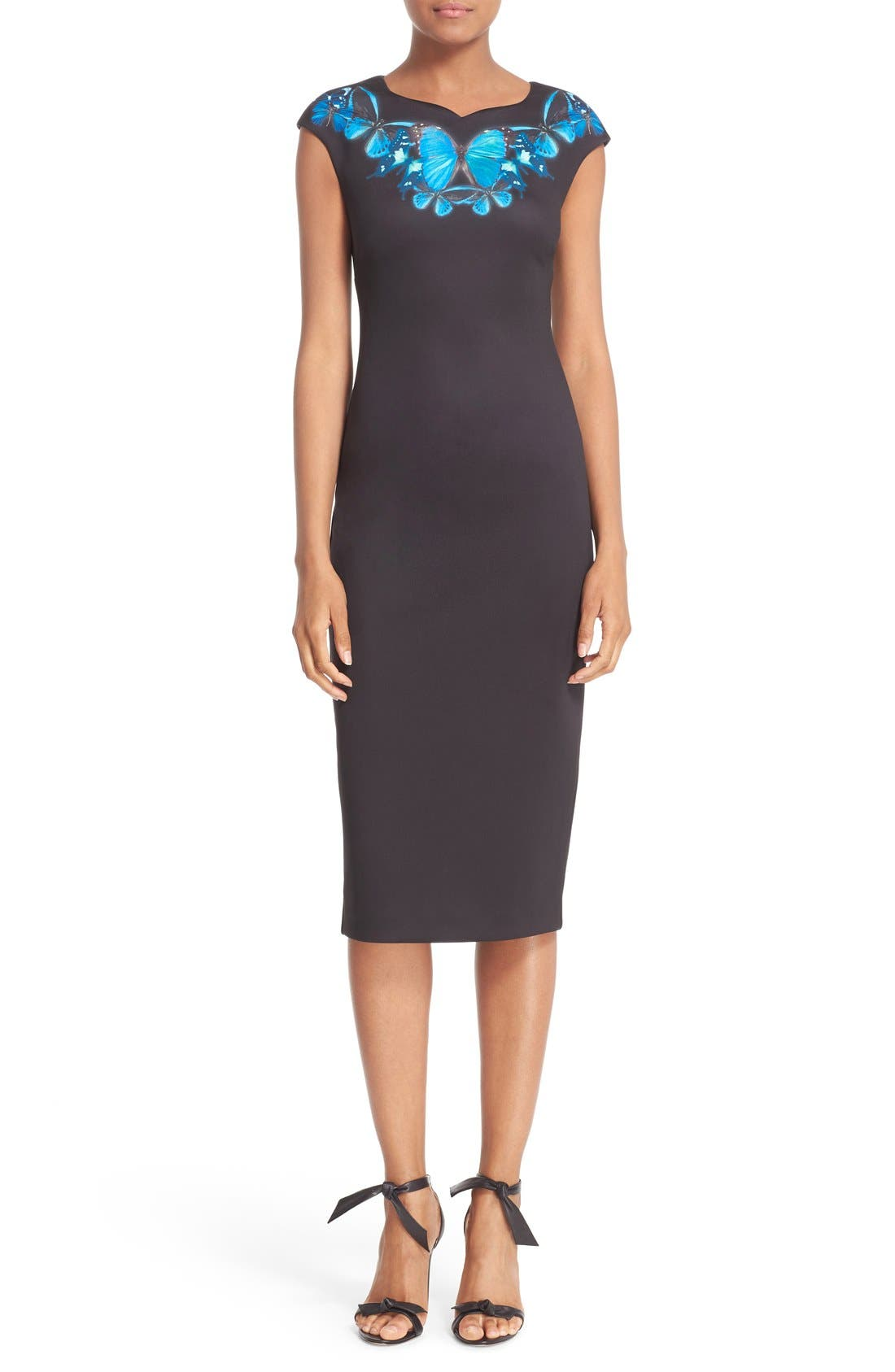 'Ashley - Butterfly Necklace' Sheath Dress,                             Main thumbnail 1, color,                             001