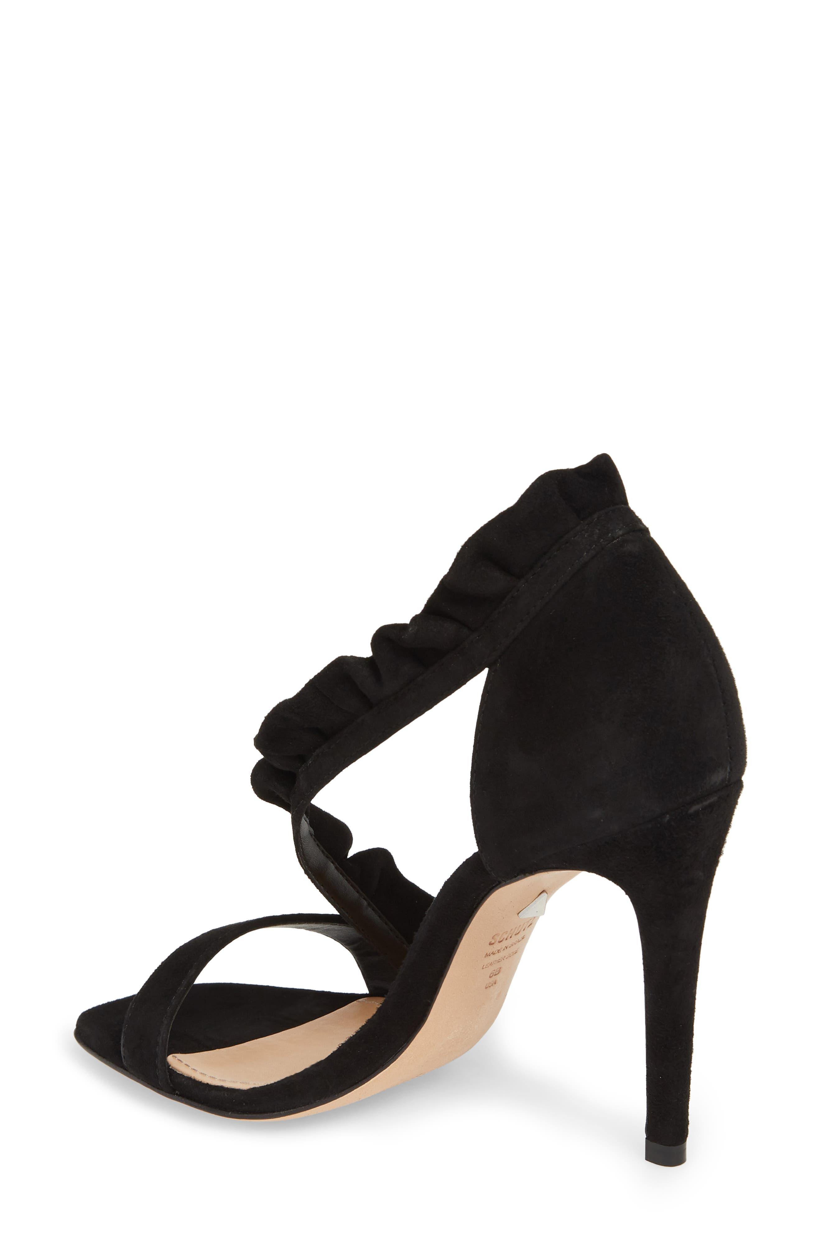 Aim Ruffle Sandal,                             Alternate thumbnail 2, color,                             BLACK SUEDE