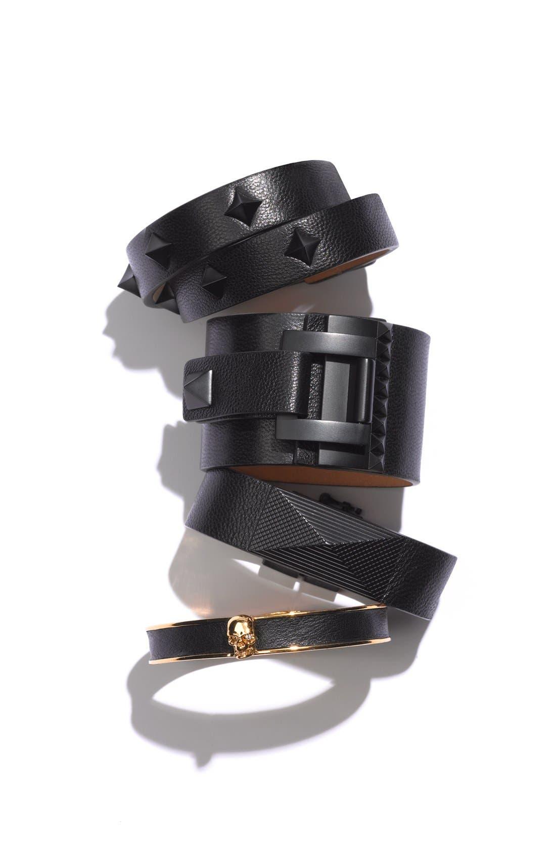'Tour of Duty' Studded Buckle Wrap Bracelet,                             Alternate thumbnail 2, color,                             001