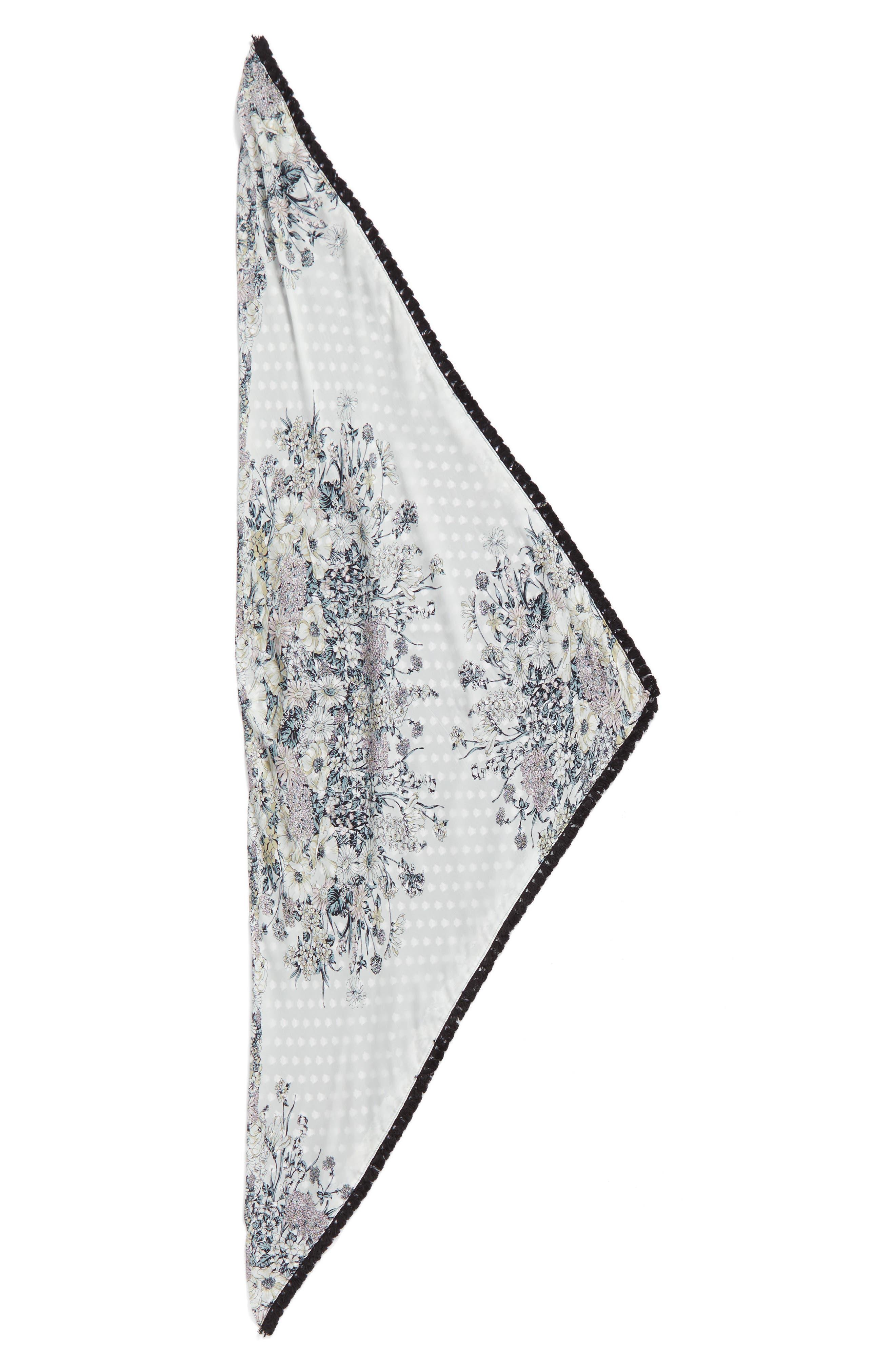 Print Silk Triangle Scarf,                             Alternate thumbnail 2, color,                             001