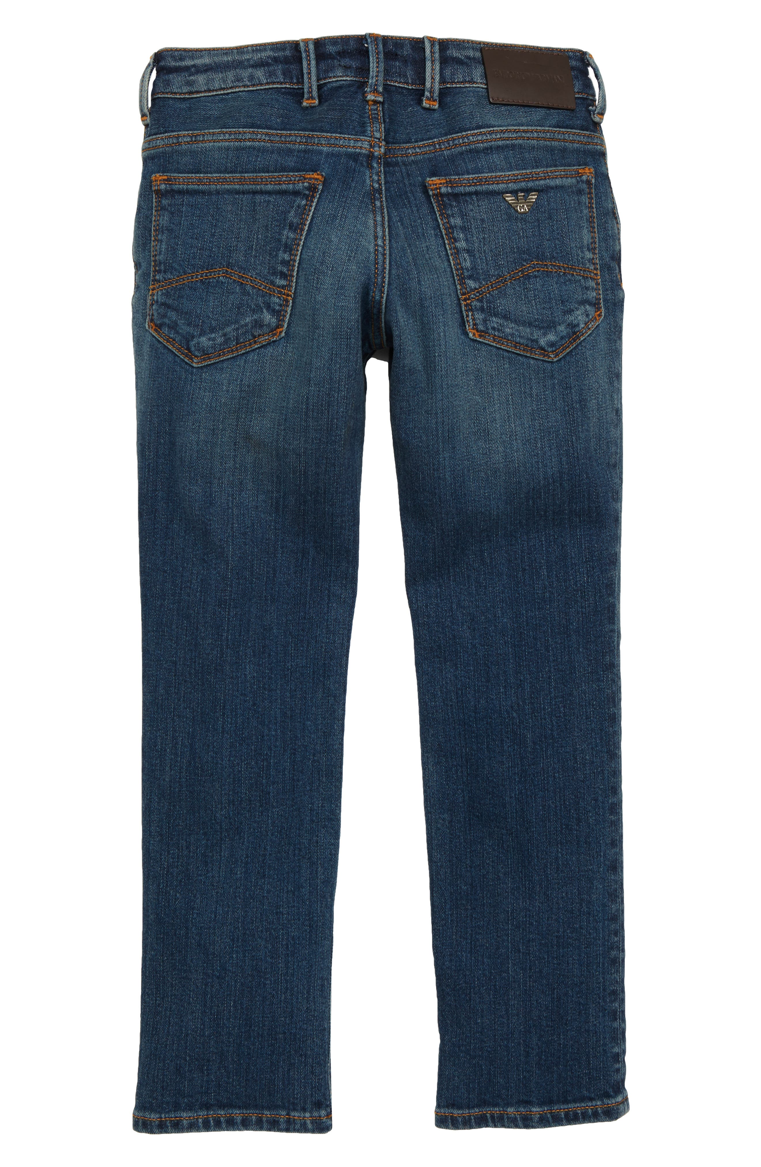 ARMANI JUNIOR,                             Denim Jeans,                             Alternate thumbnail 2, color,                             SOLID DARK BLUE