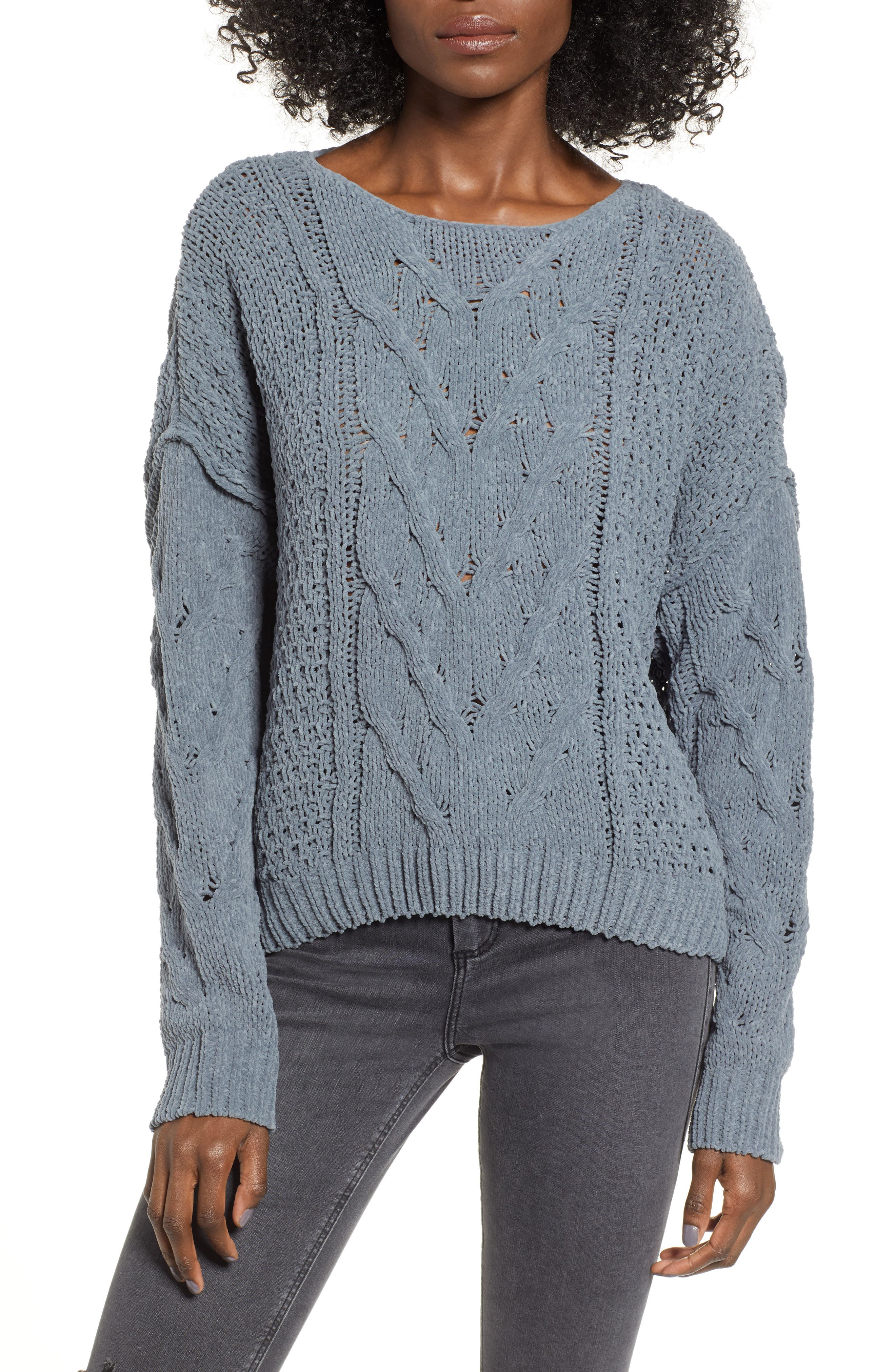 Cable Knit Sweater,                             Main thumbnail 1, color,                             GREY