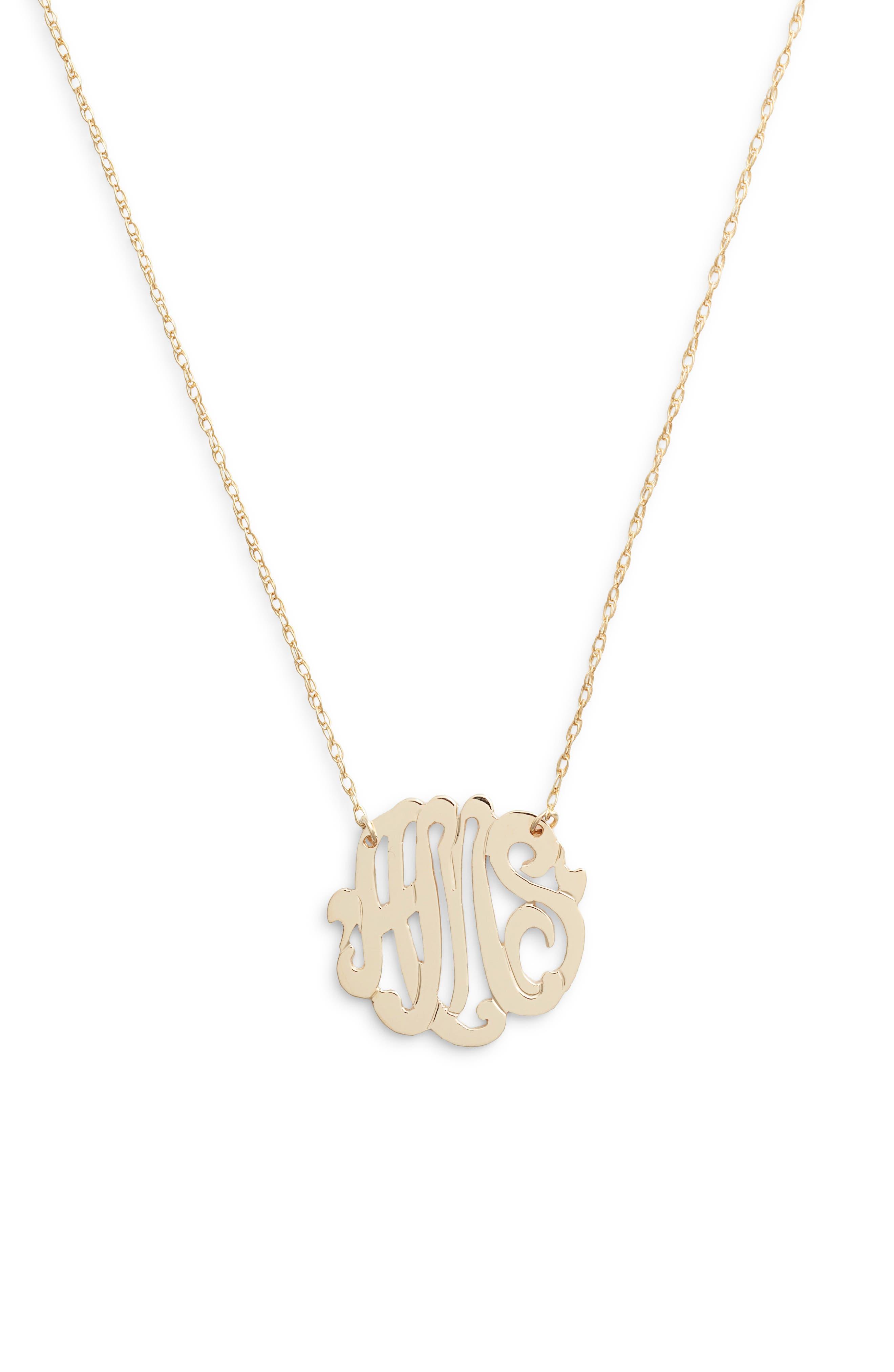 Jane Basch Script Monogram Necklace,                         Main,                         color, GOLD