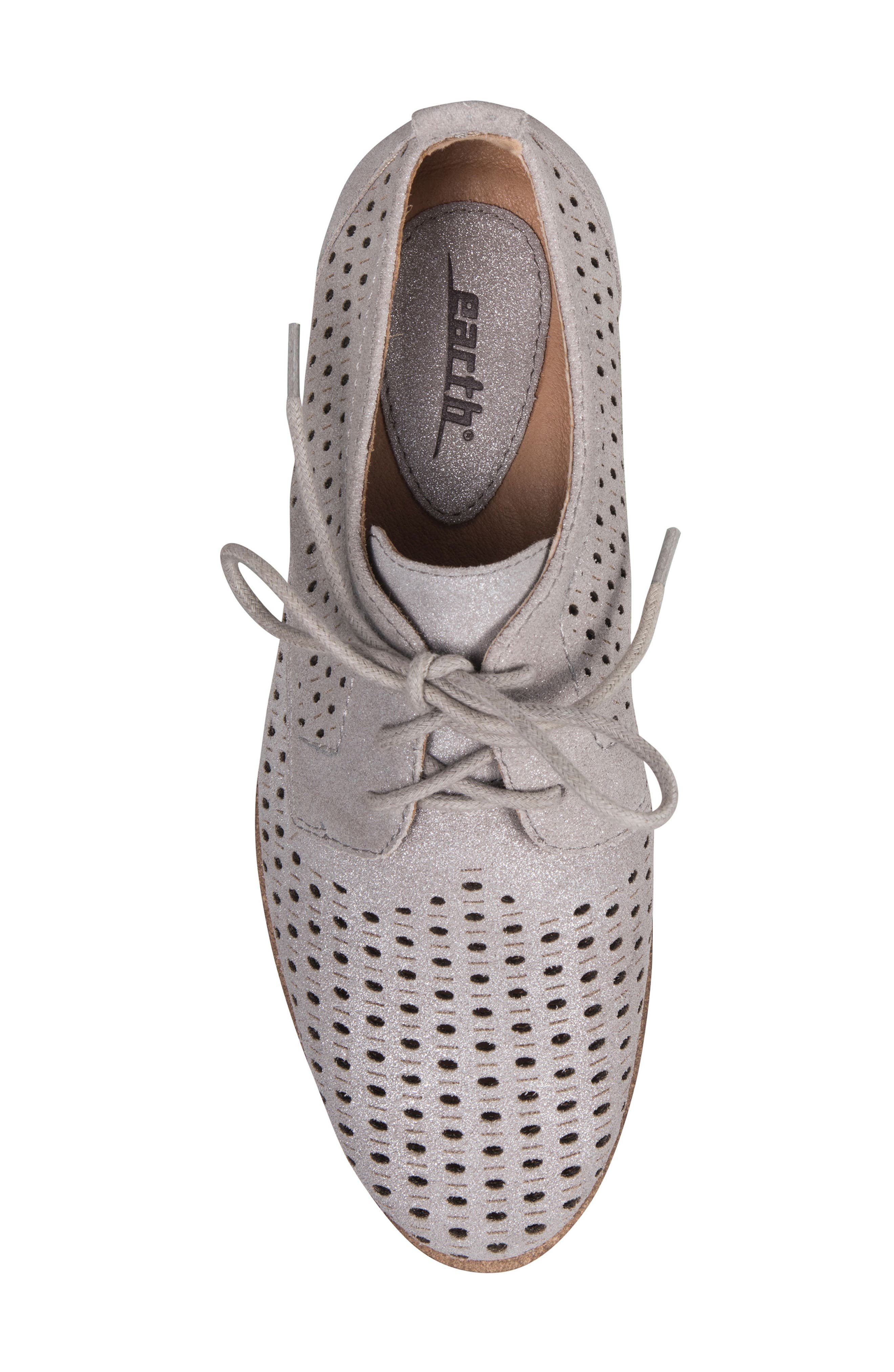 Camino Perforated Sneaker,                             Alternate thumbnail 5, color,                             SILVER METALLIC SUEDE