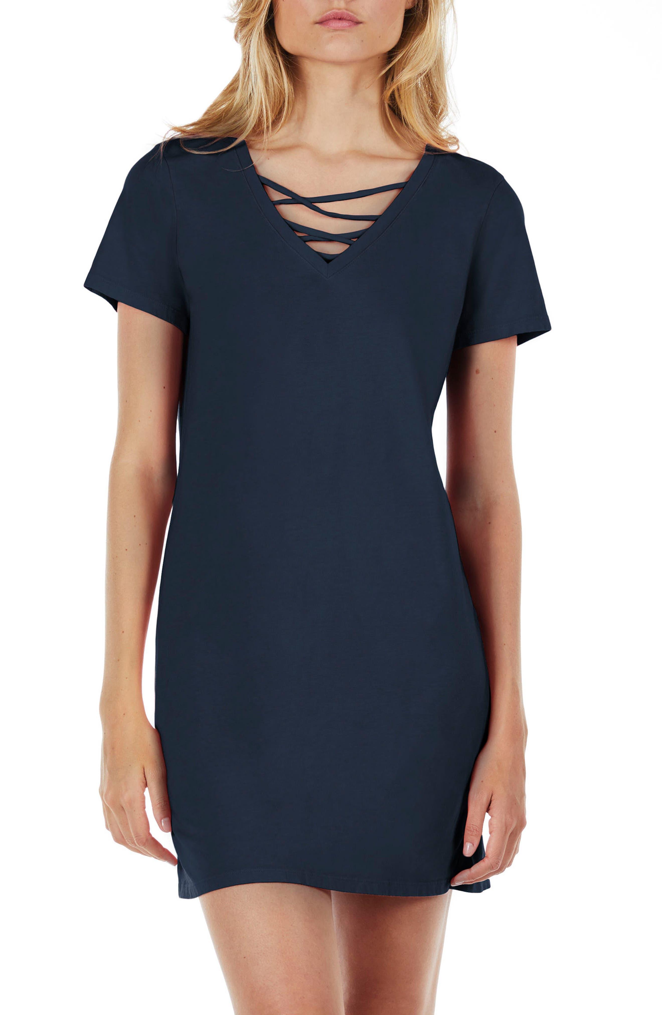 Strappy V-Neck Shift Dress,                             Main thumbnail 2, color,