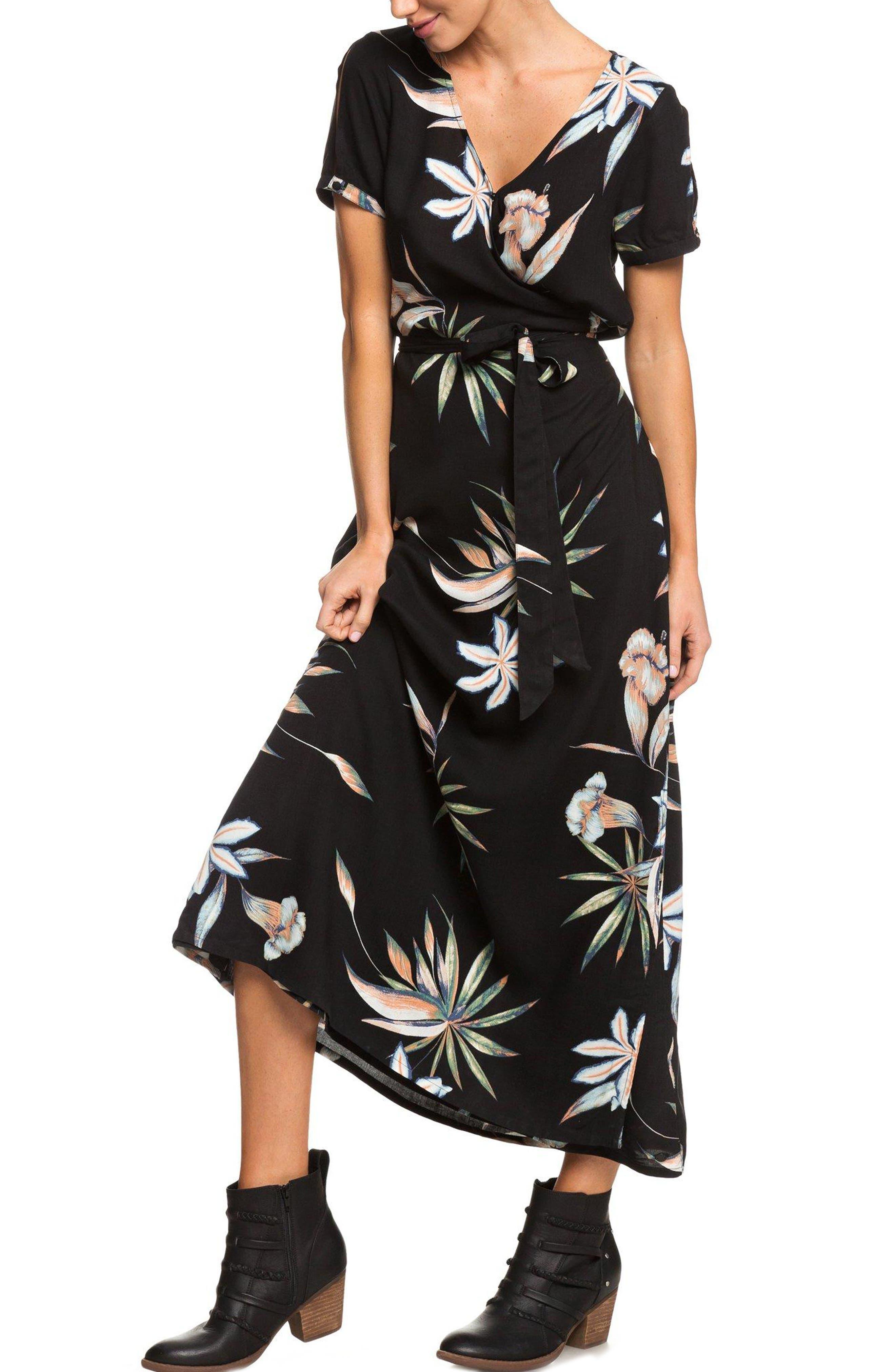 Lotus Heart Midi Dress,                         Main,                         color, TRUE BLACK NIGHTLIGHTS