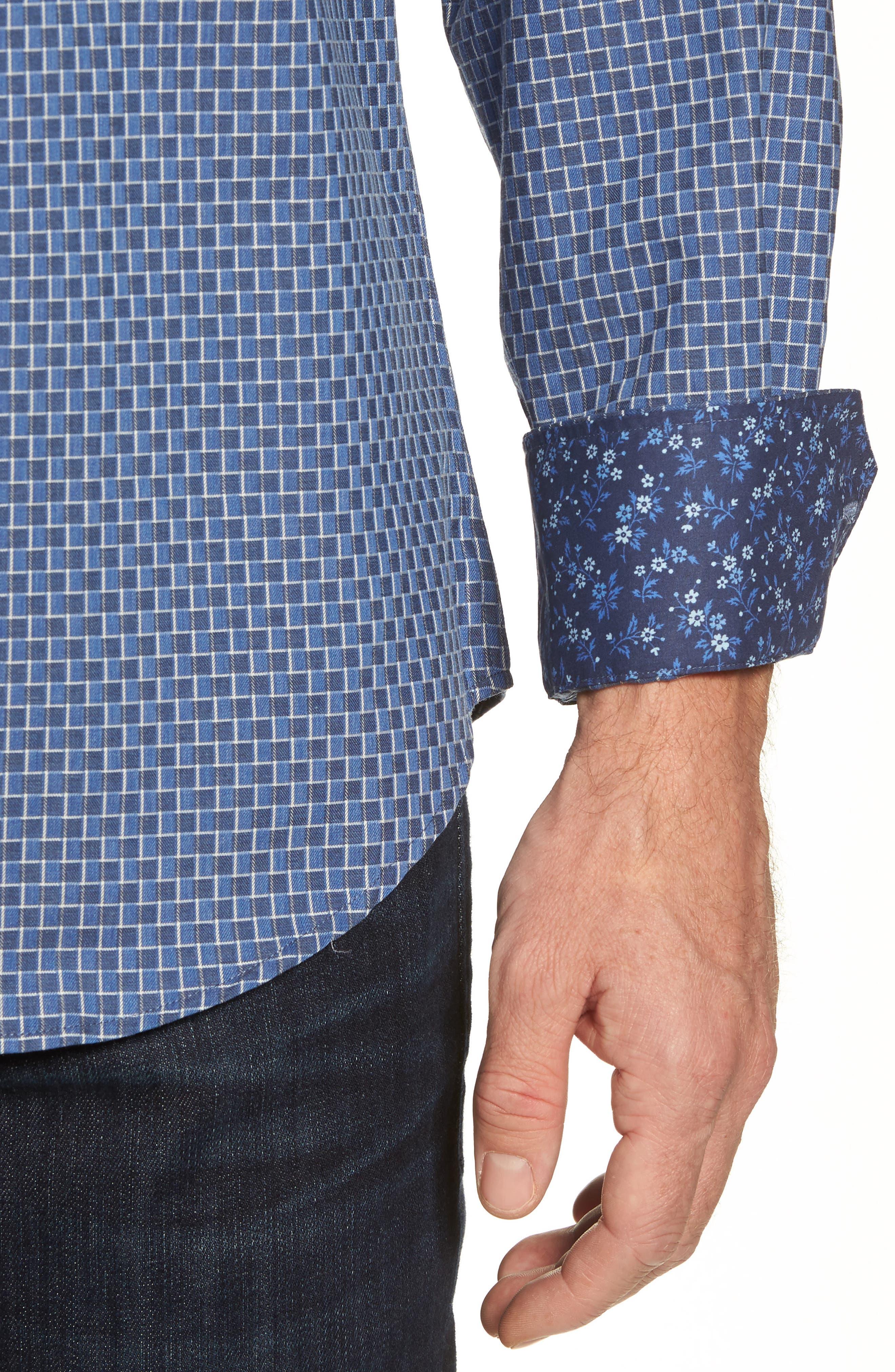 Shaped Fit Jacquard Sport Shirt,                             Alternate thumbnail 4, color,                             030