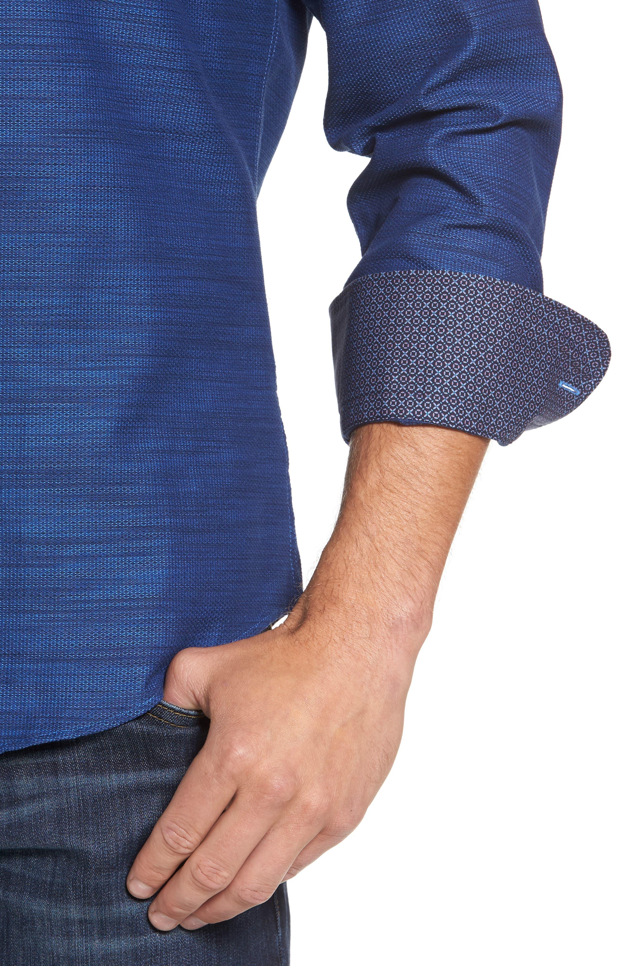 Slim Fit Mélange Textured Sport Shirt,                             Alternate thumbnail 4, color,                             430