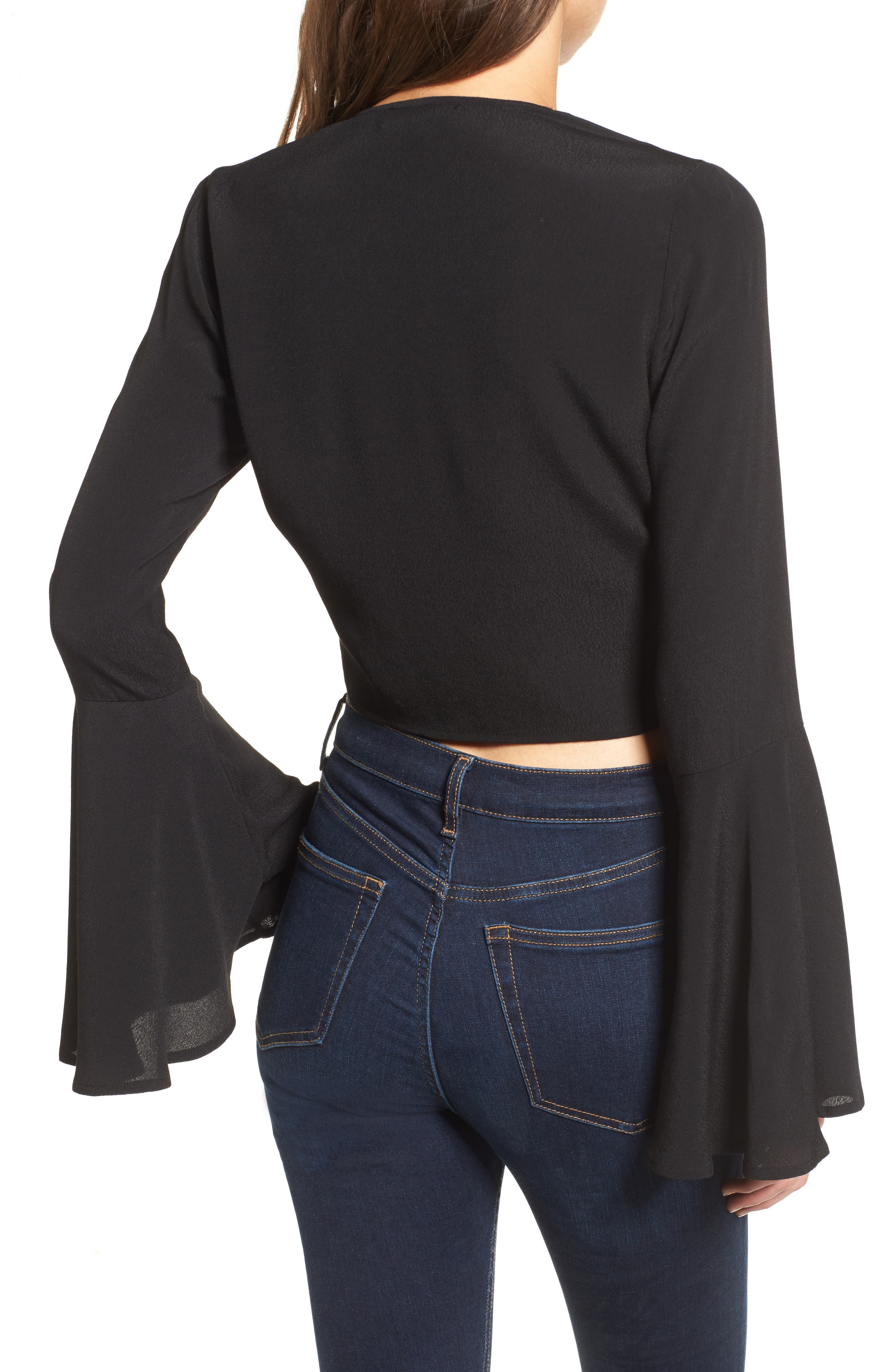 Tie Front Bell Sleeve Top,                             Alternate thumbnail 2, color,                             001